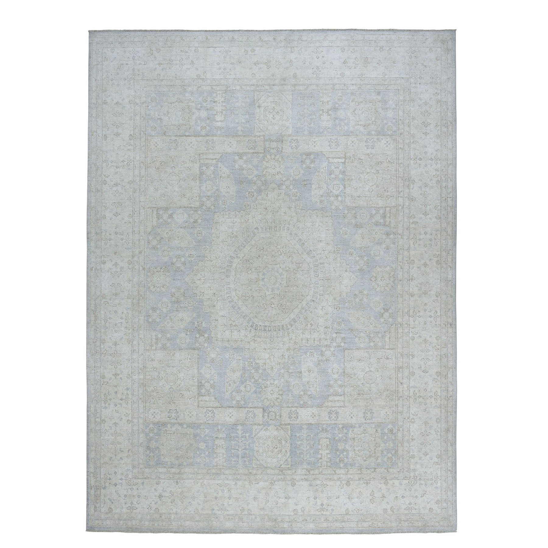 "8'10""X11'9"" White Wash Peshawar With Mamluk Design Gray Pure Wool Hand-Knotted Oriental Rug moae0e88"