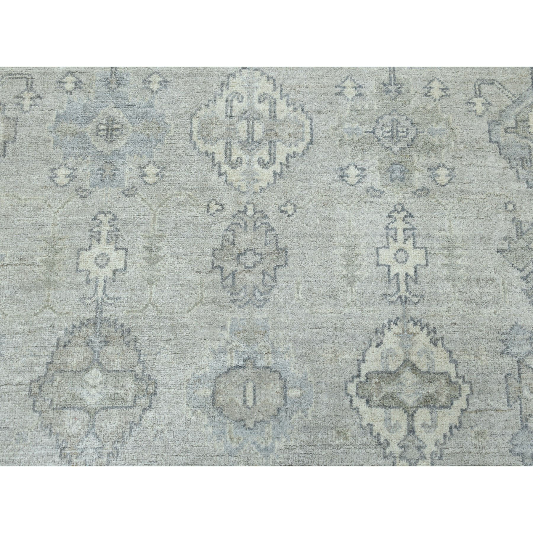 4-x5-10  Gray White Wash Peshawar With karajeh Design Pure Wool Hand-Knotted Oriental Rug