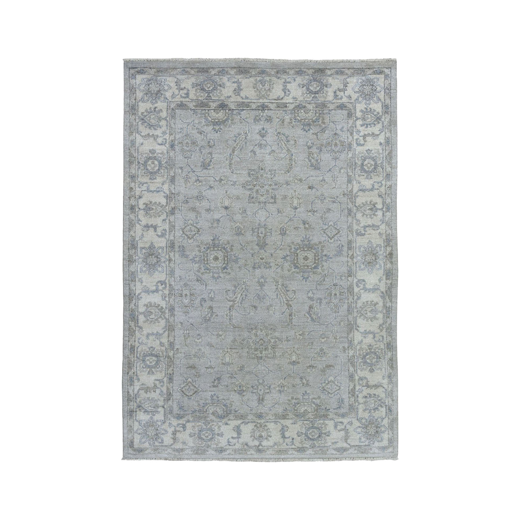 "4'X5'10"" Gray White Wash Peshawar With Karajeh Design Pure Wool Hand-Knotted Oriental Rug moae0e90"