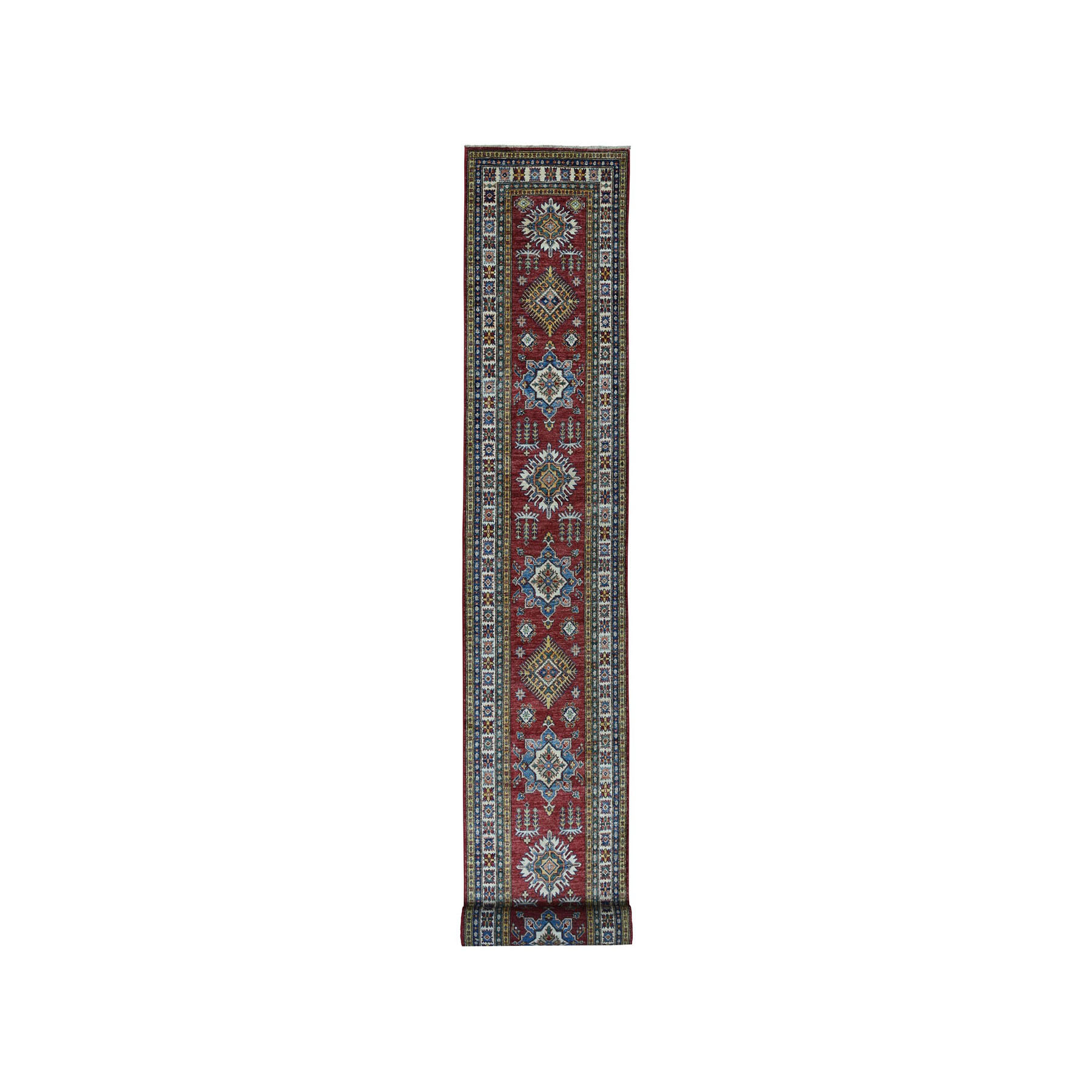 "2'7""X20'1"" Red Super Kazak Pure Wool Geometric Design Xl Runner Hand-Knotted Oriental Rug moae0e9e"
