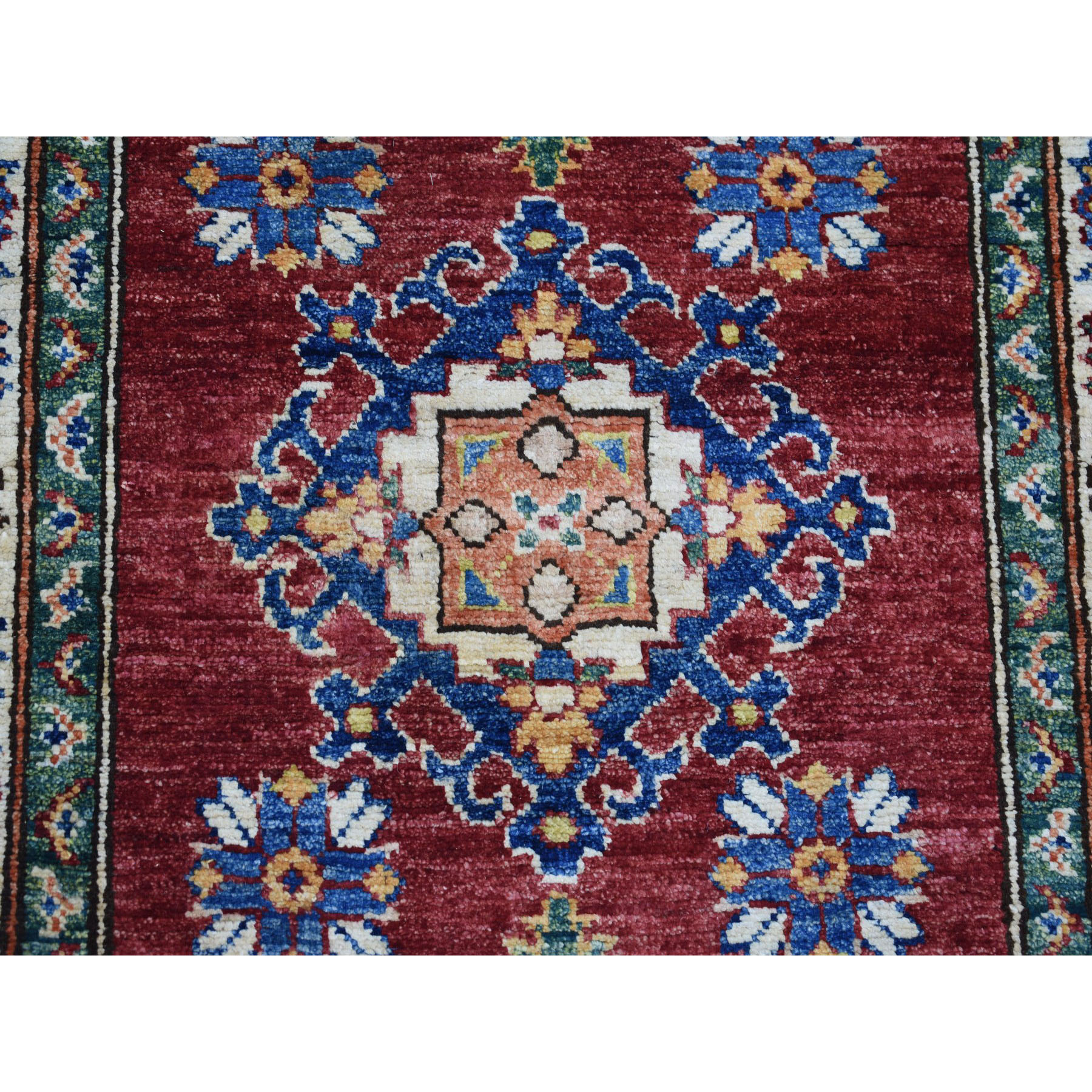 2-8 x20-3  Red Super Kazak Pure Wool Geometric Design XL Runner Hand-Knotted Oriental Rug