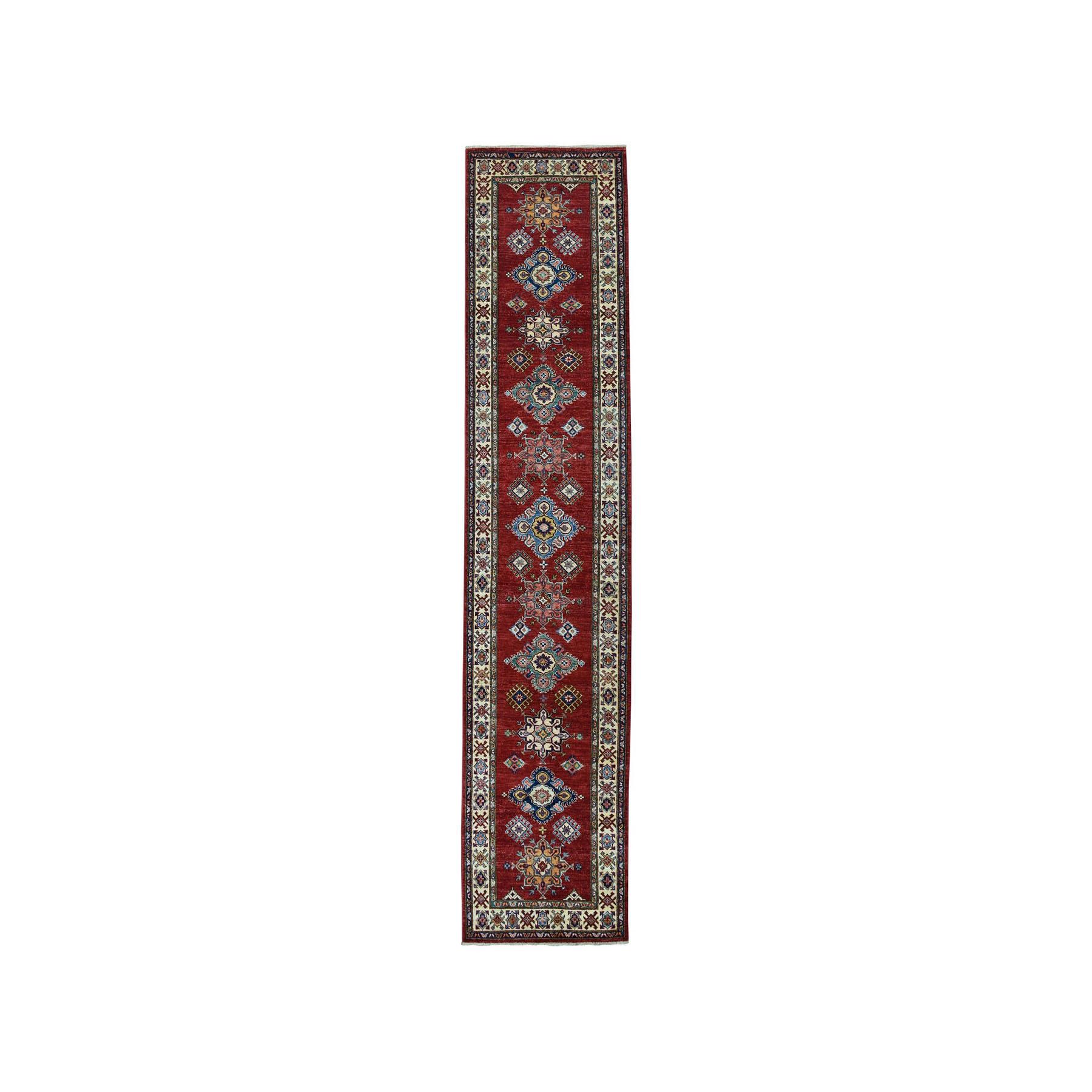 "2'9""X10'9"" Red Super Kazak Pure Wool Geometric Design Hand-Knotted Runner Oriental Rug moae060d"