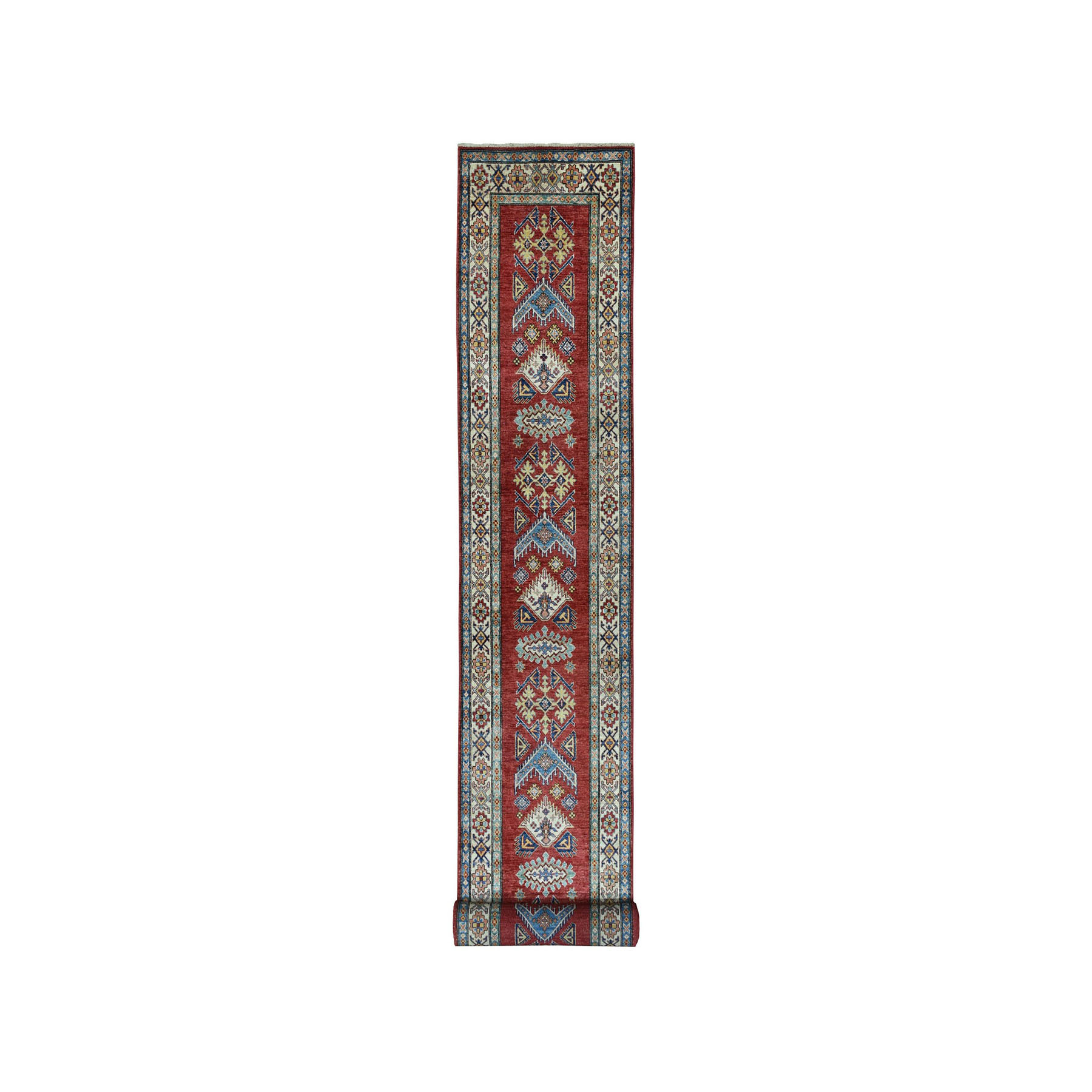 "2'7""X19'9"" Red Super Kazak Geometric Design Xl Runner Pure Wool Hand-Knotted Oriental Rug moae060e"