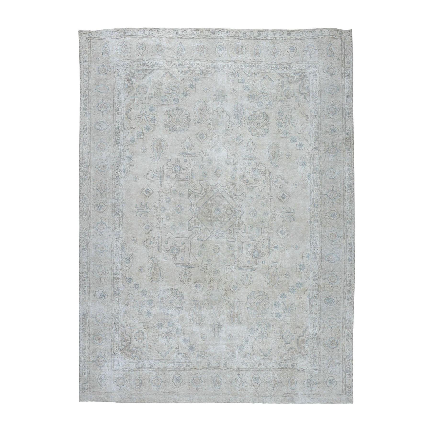 "9'8""X12' Ivory Vintage Tabriz Worn Wool Hand-Knotted Oriental Rug moae06ad"