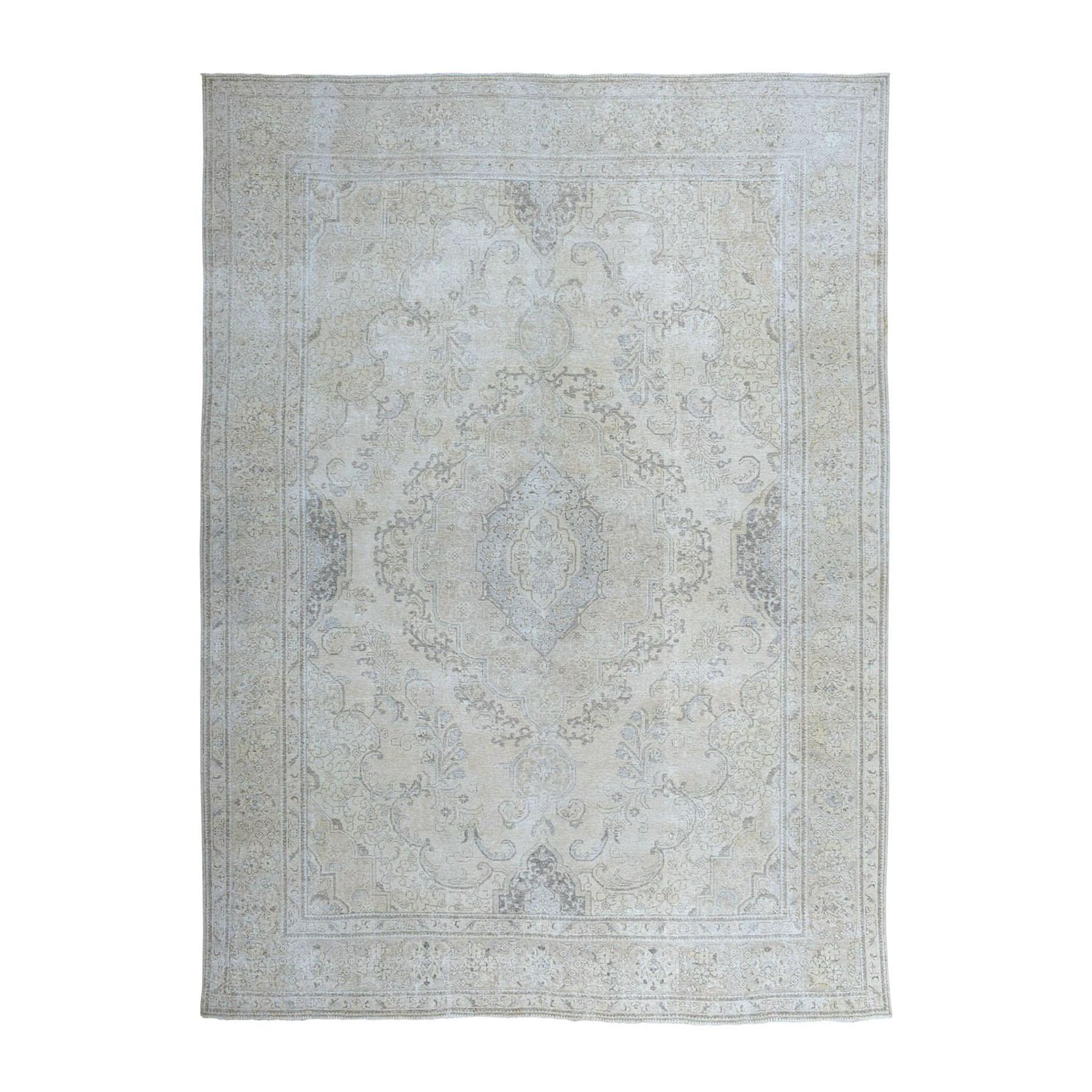 "9'7""X12'4"" Ivory Vintage Tabriz Worn Wool Hand-Knotted Oriental Rug moae06ae"