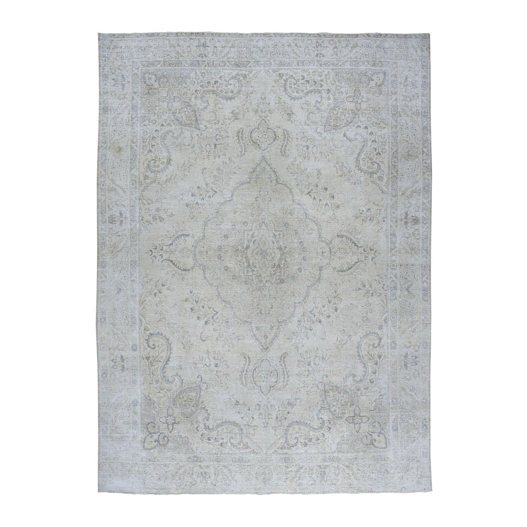"9'7""X12'3"" Ivory White Wash Vintage Tabriz Worn Wool Hand-Knotted Oriental Rug moae06a6"