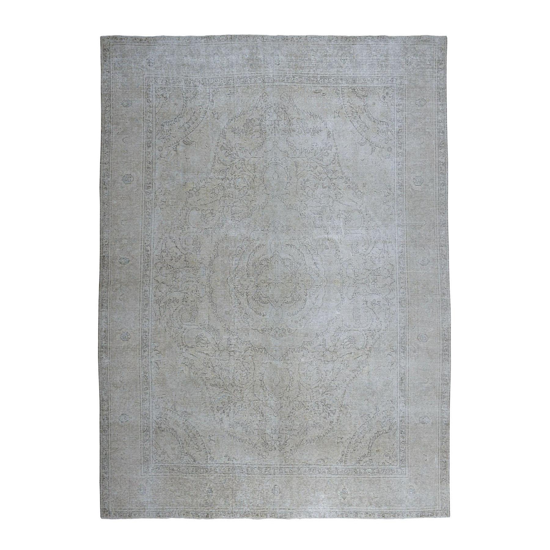 "9'10""X12'5"" Silver White Wash Vintage Tabriz Worn Wool Hand-Knotted Oriental Rug moae06a7"