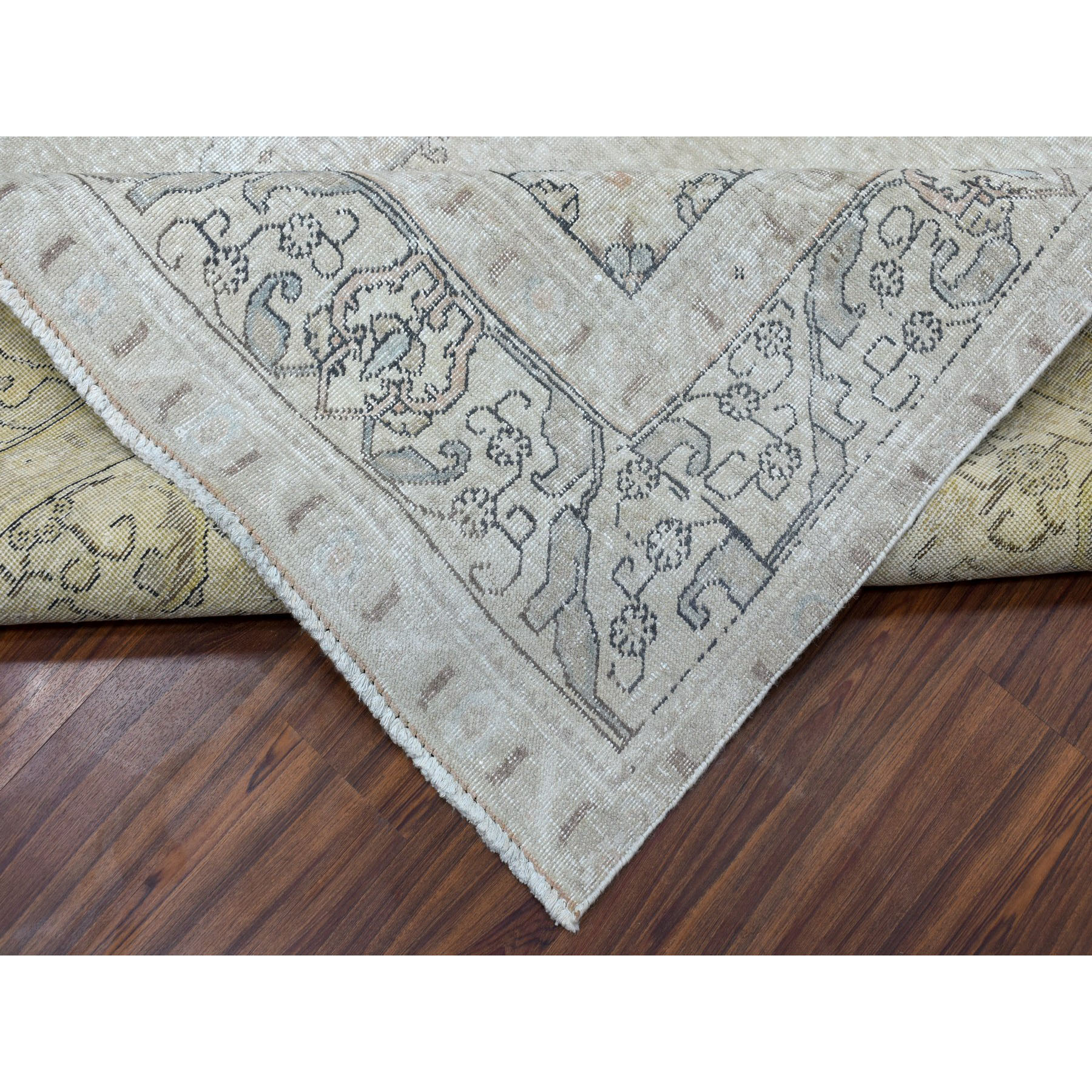 9-5 x12-6  Gray Vintage White Wash Tabriz Worn Wool Tribal Hand-Knotted Oriental Rug