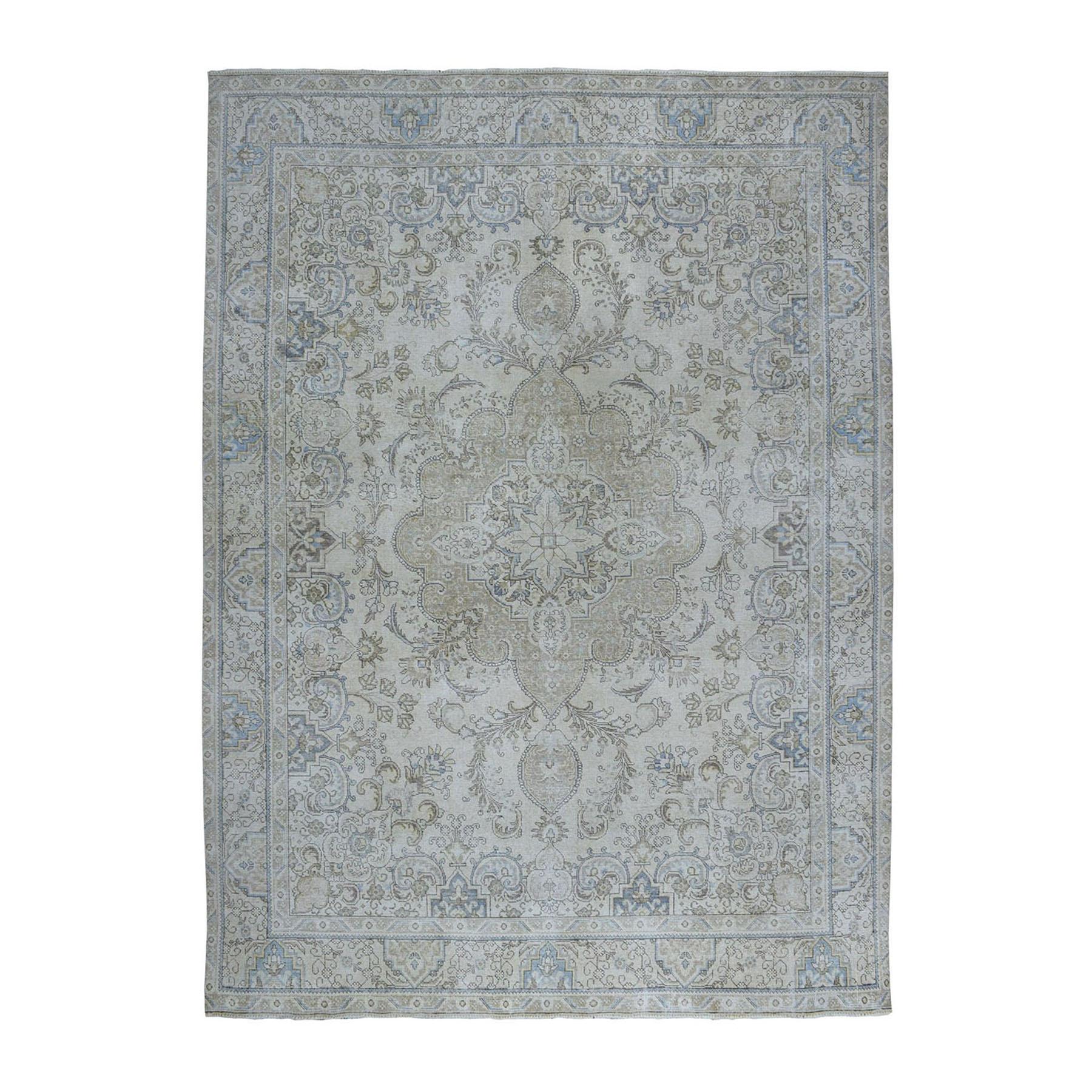 "9'6""X12'8"" Beige Vintage White Wash Tabriz Worn Wool Tribal Hand-Knotted Oriental Rug moae06a9"