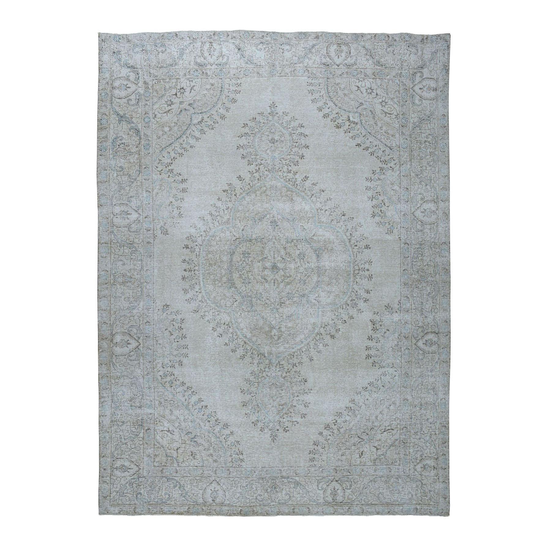 """9'6""""X12'1"""" Beige Vintage White Wash Tabriz Worn Wool Hand-Knotted Oriental Rug moae06b0"""