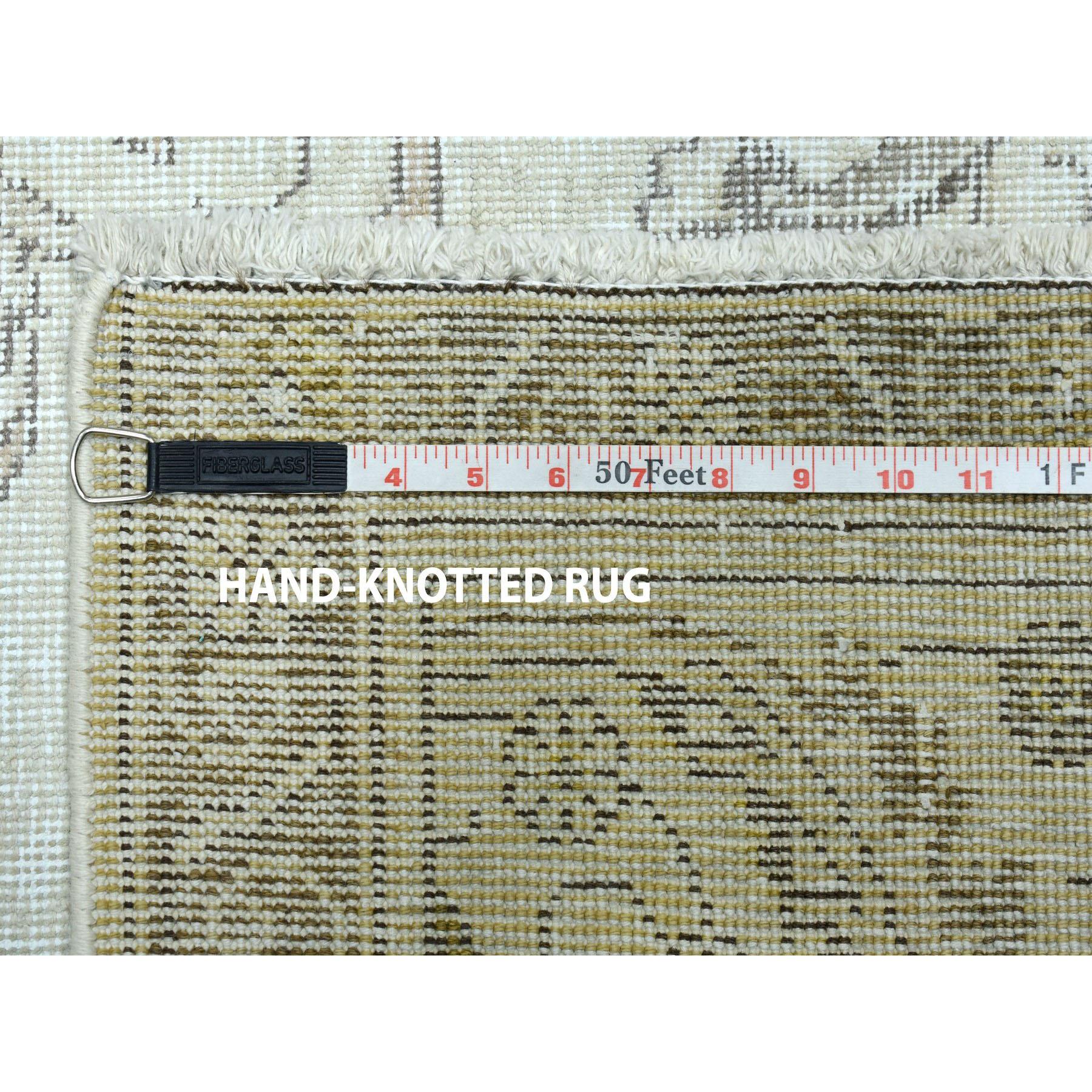 9-3 x12-5  Ivory Vintage White Wash Tabriz Worn Wool Hand-Knotted Oriental Rug