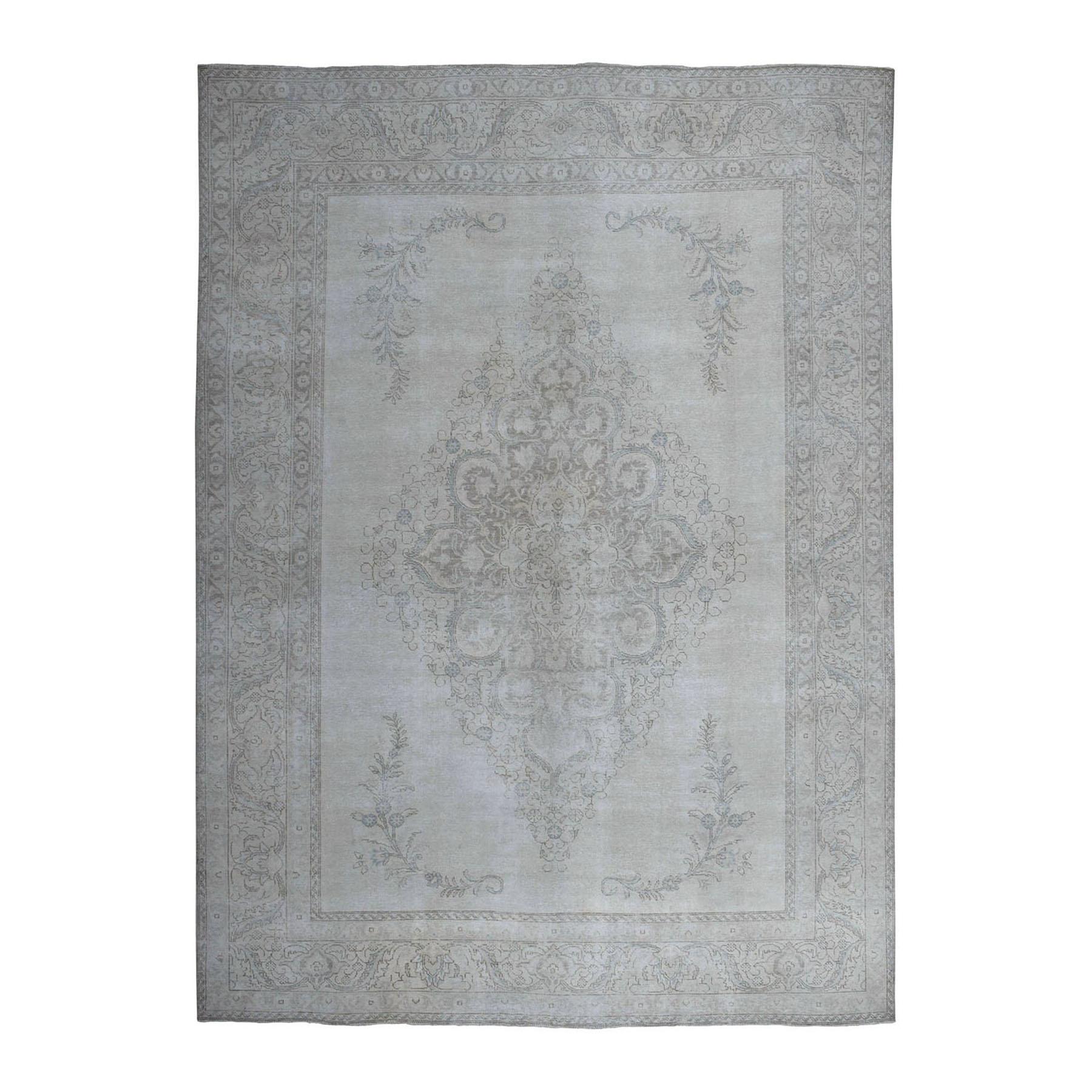 "9'5""X12'9"" Ivory White Wash Vintage Tabriz Worn Wool Hand-Knotted Oriental Rug moae06bc"