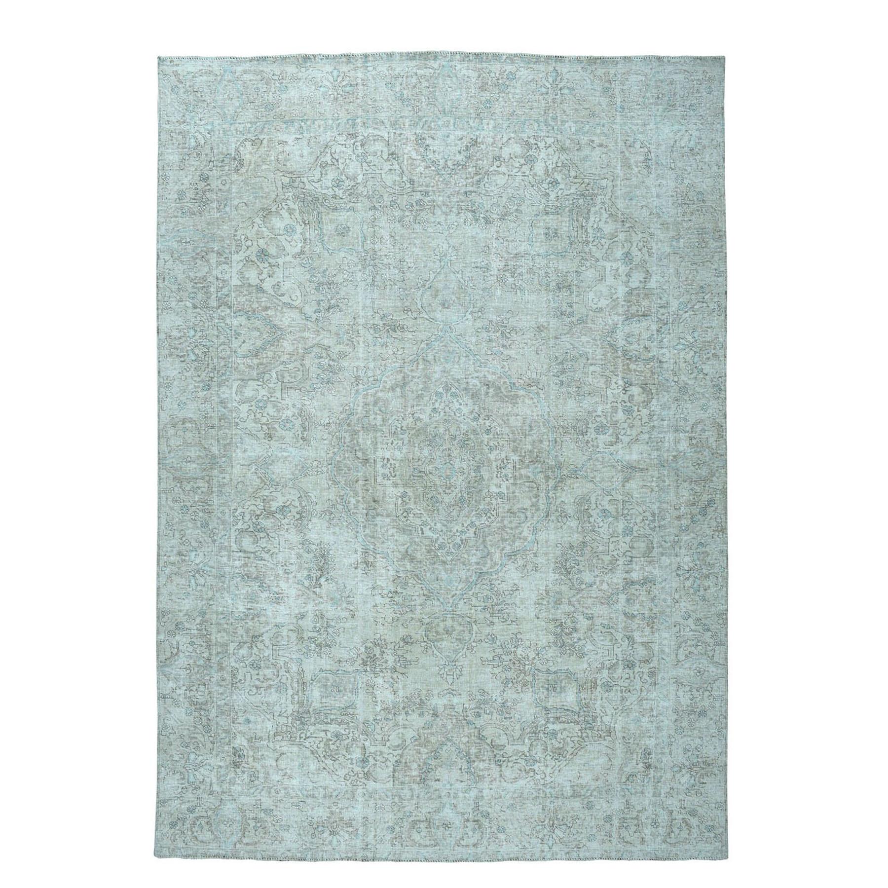 """8'7""""X12'7"""" Beige Vintage White Wash Tabriz Worn Wool Hand-Knotted Oriental Rug moae06bd"""