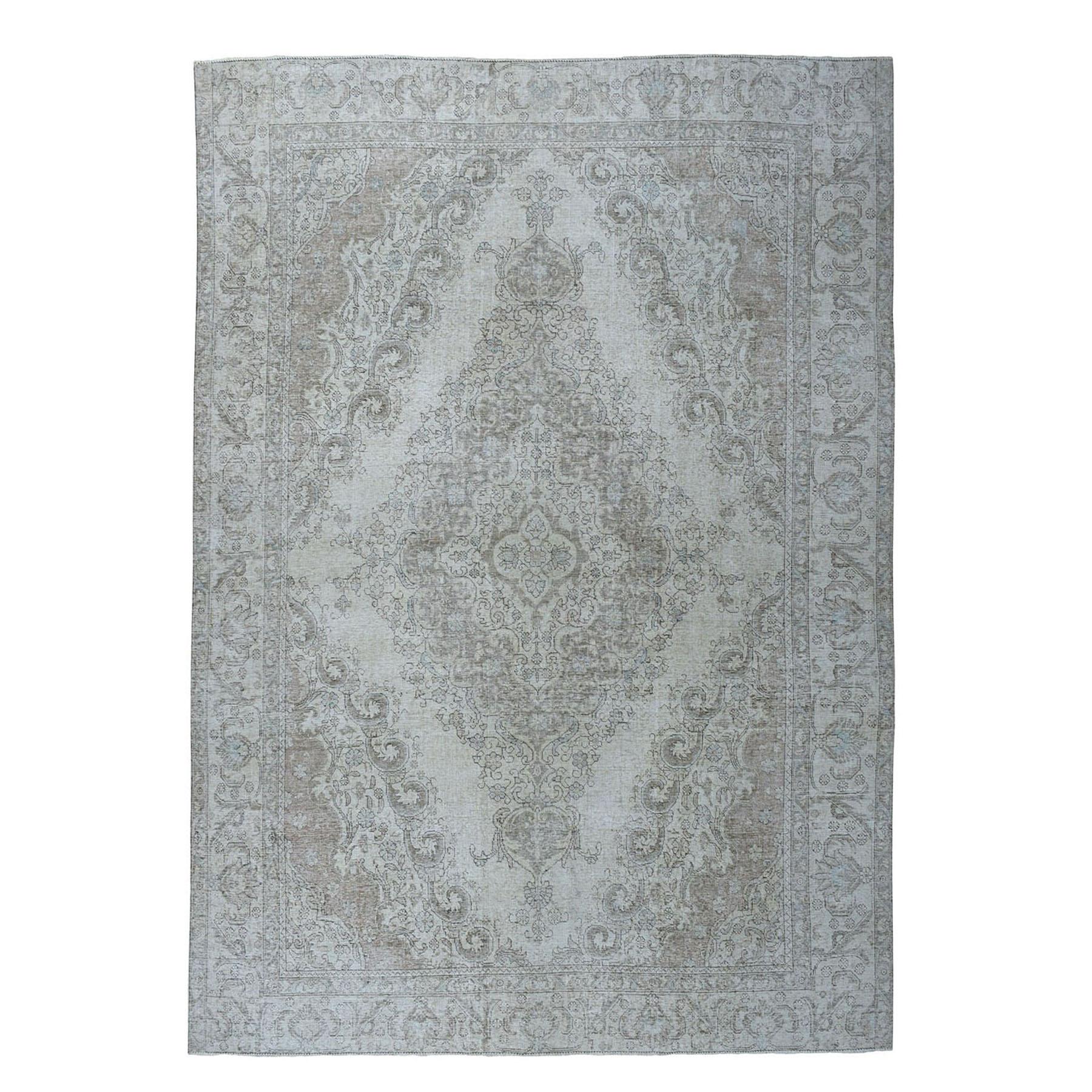 """9'X12'1"""" Beige Vintage White Wash Tabriz Worn Wool Hand-Knotted Oriental Rug moae06be"""