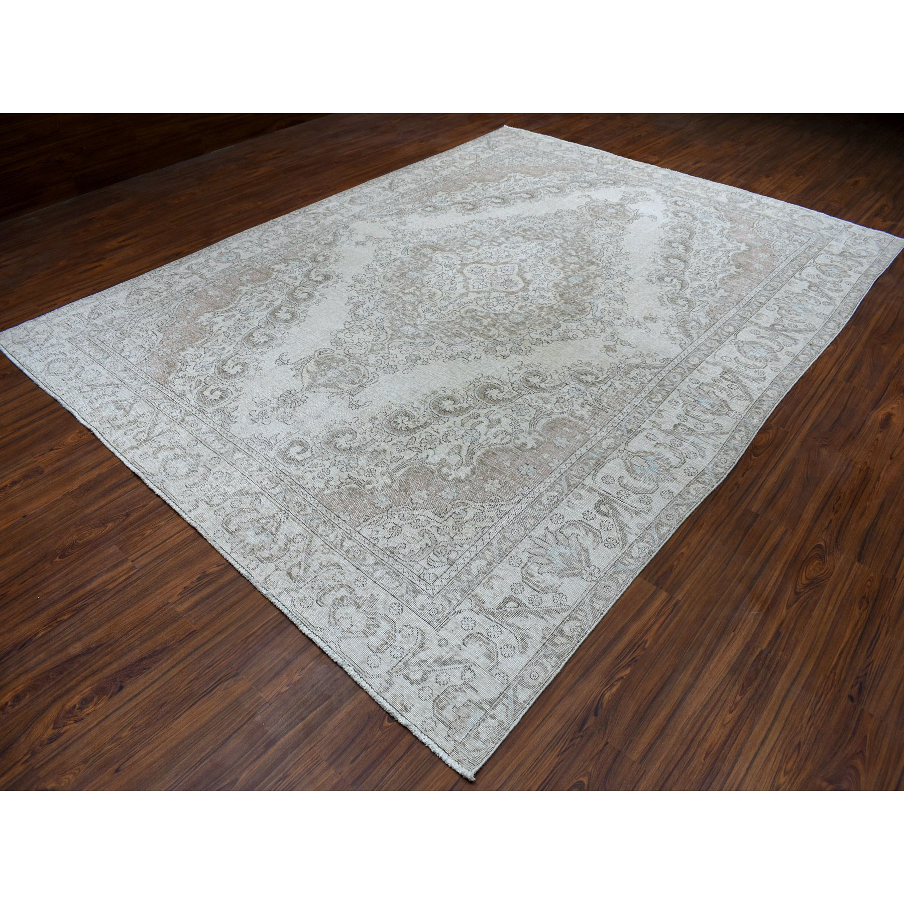 9-x12-1  Beige Vintage White Wash Tabriz Worn Wool Hand-Knotted Oriental Rug