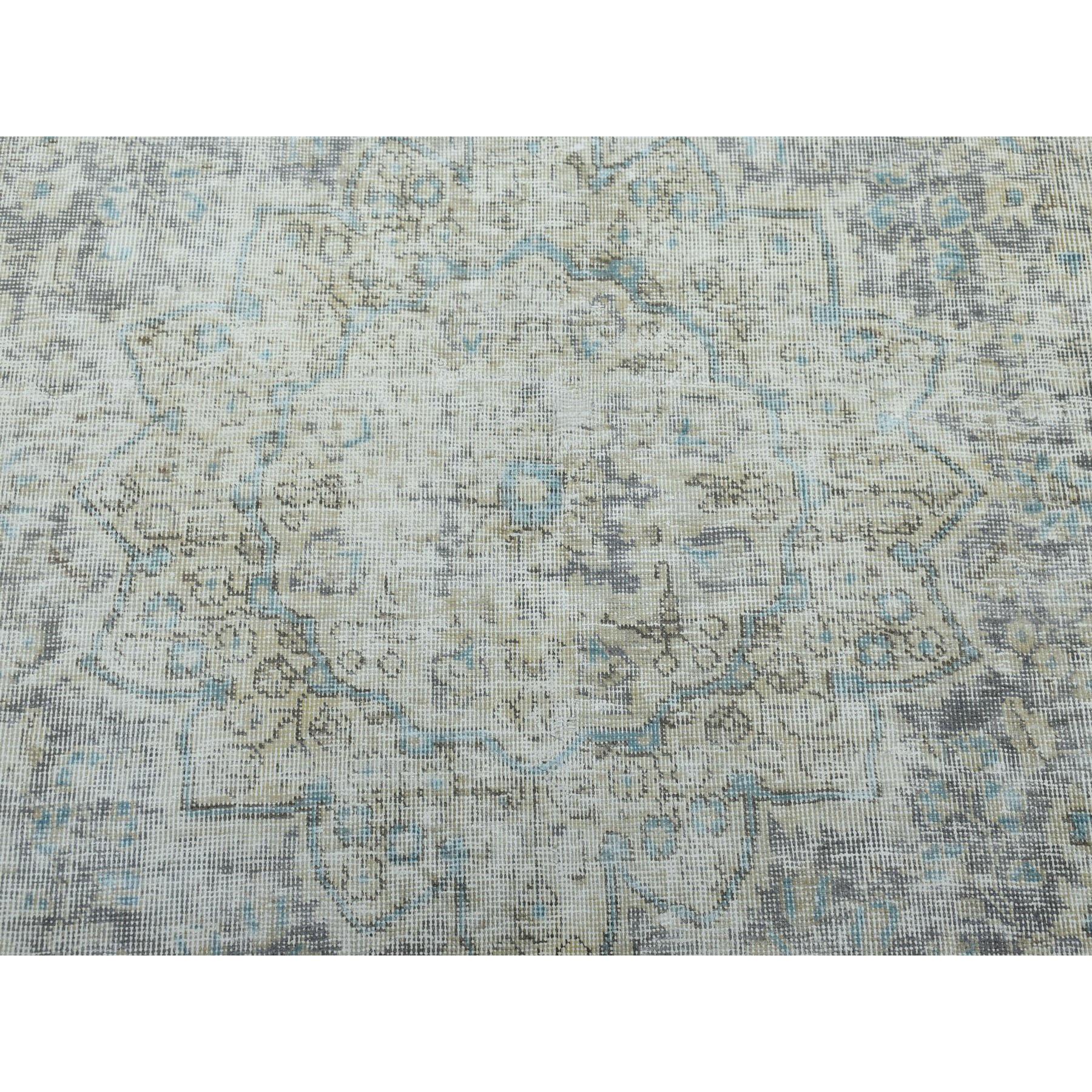 6-6 x9-3  Ivory Vintage White Wash  Tabriz Worn Wool Hand-Knotted Oriental Rug