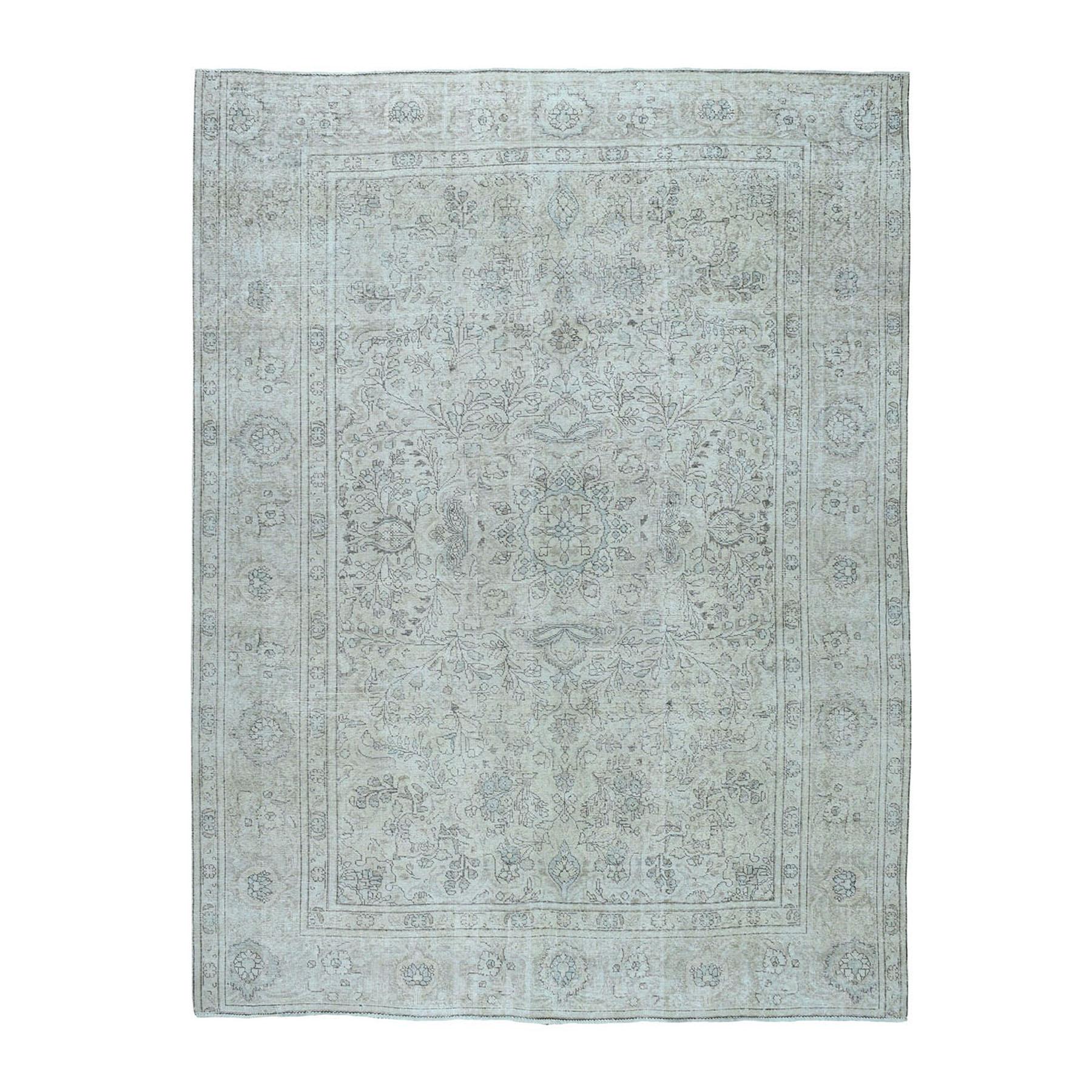 """8'X10'10"""" White Wash Vintage Tabriz Worn Wool Hand-Knotted Oriental Rug moae06c0"""