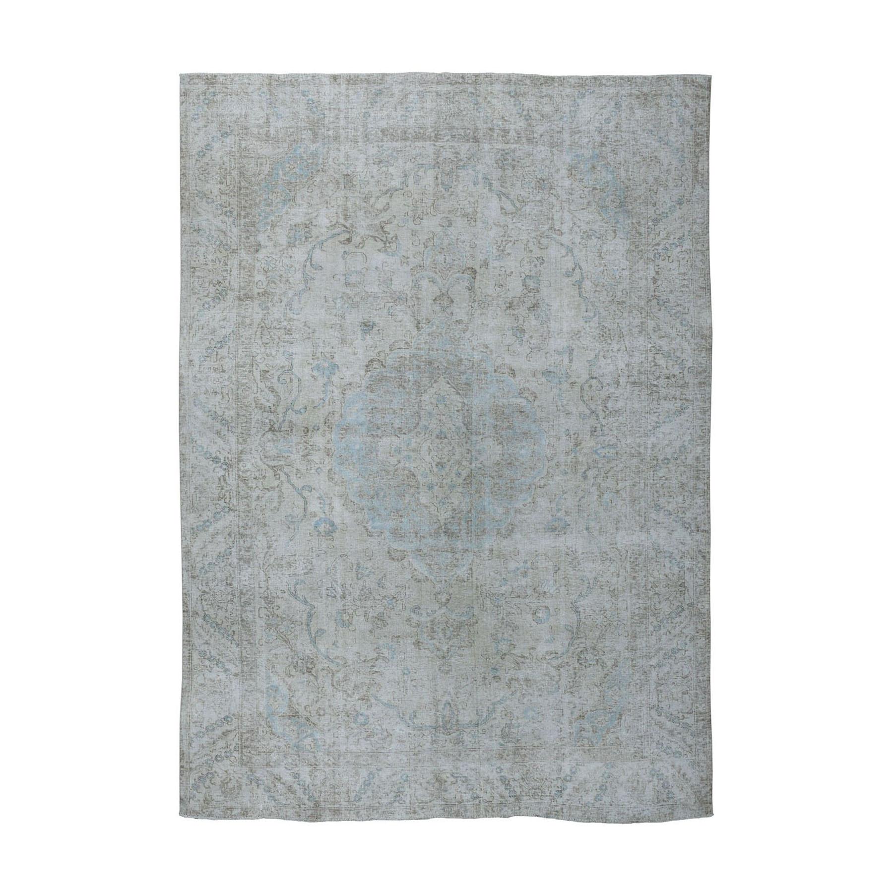 7'x10' White Wash Vintage Tabriz Worn Wool Hand-Knotted Oriental Rug