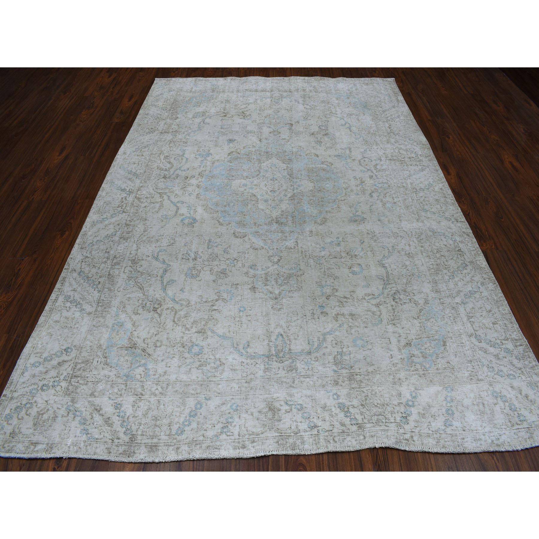 7 X10 White Wash Vintage Tabriz Worn Wool Hand Knotted