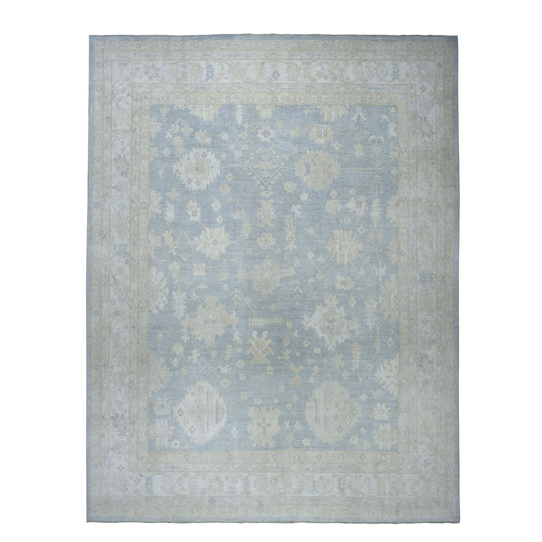 """12'X14'2"""" Oversized White Wash Peshawar Pure Wool Hand-Knotted Oriental Rug moae06ce"""