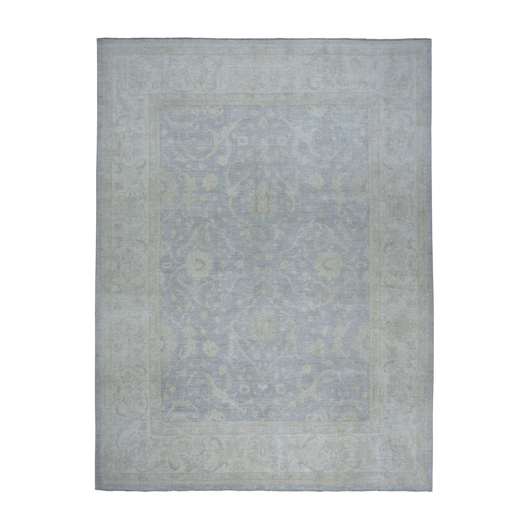 "10'3""X13'9"" White Wash Peshawar Pure Wool Hand-Knotted Oriental Rug moae06c6"