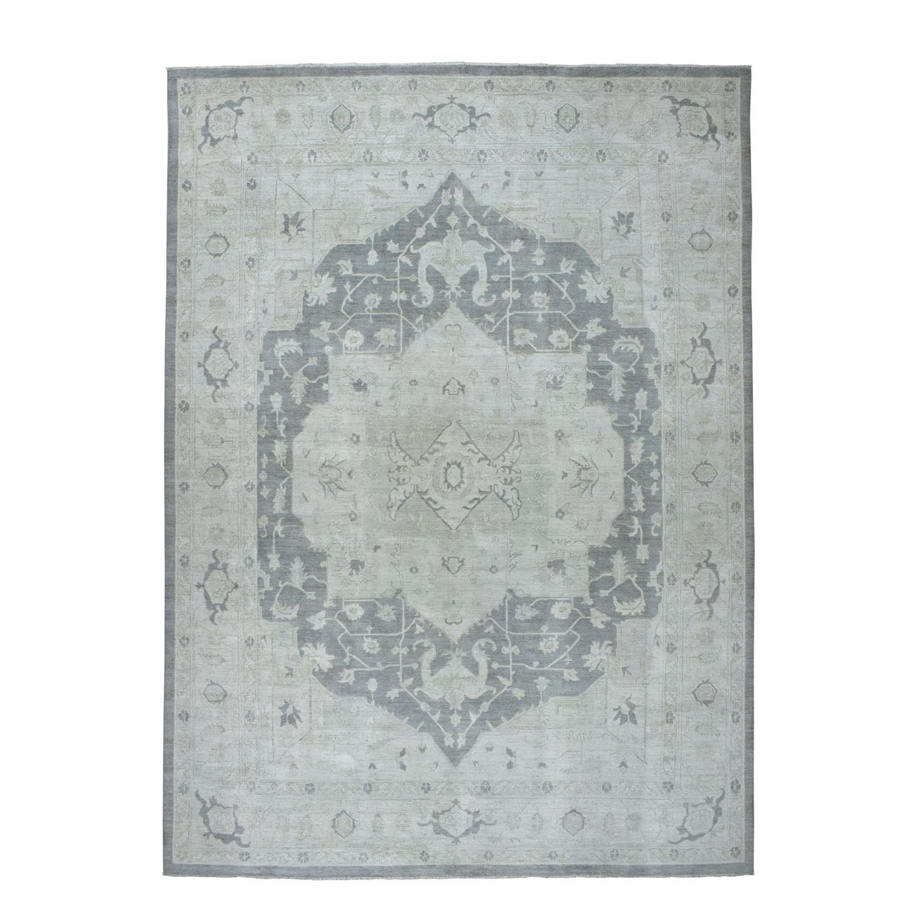 "9'10""X13'6"" White Wash Peshawar With Heriz Design Pure Wool Hand-Knotted Oriental Rug moae06c8"