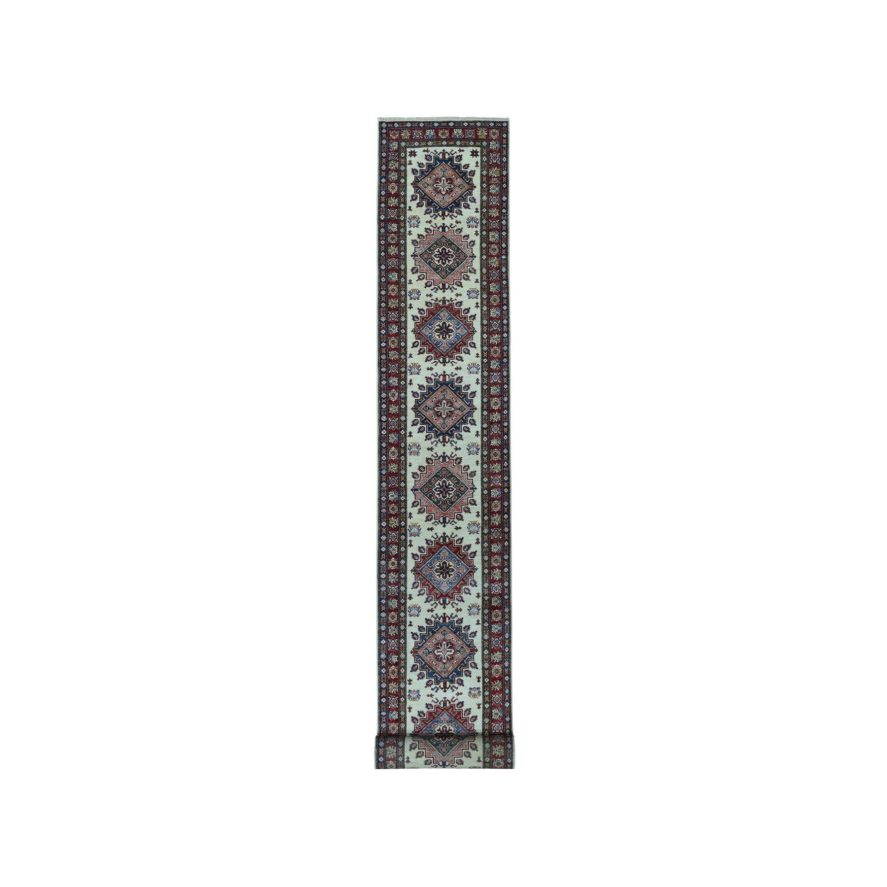 "2'9""X19' Ivory Super Kazak Geometric Design Xl Runner Pure Wool Hand-Knotted Oriental Rug moae06d6"