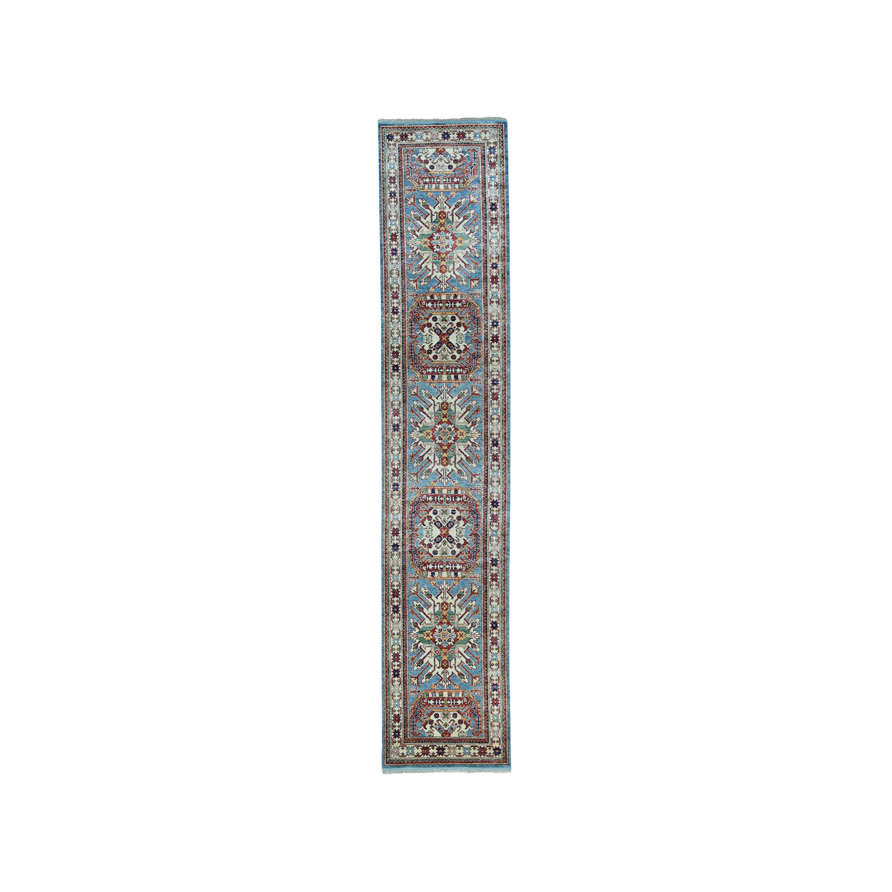 "2'10""X12'5"" Blue Super Kazak Pure Wool Geometric Design Hand-Knotted Runner Oriental Rug moae06d7"