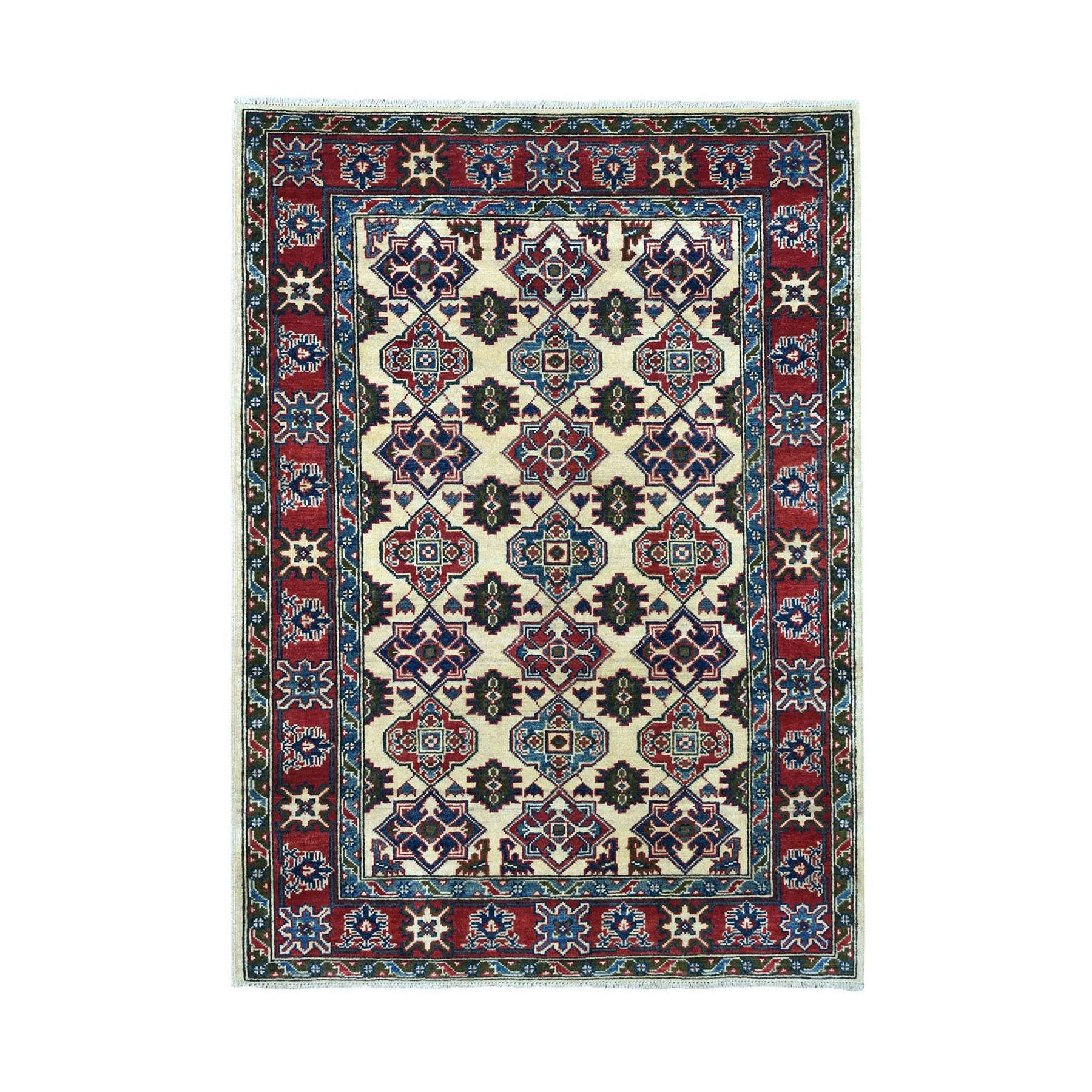 "4'3""X5'7"" Ivory Kazak Pure Wool Geometric Design Hand-Knotted Oriental Rug moae06d8"