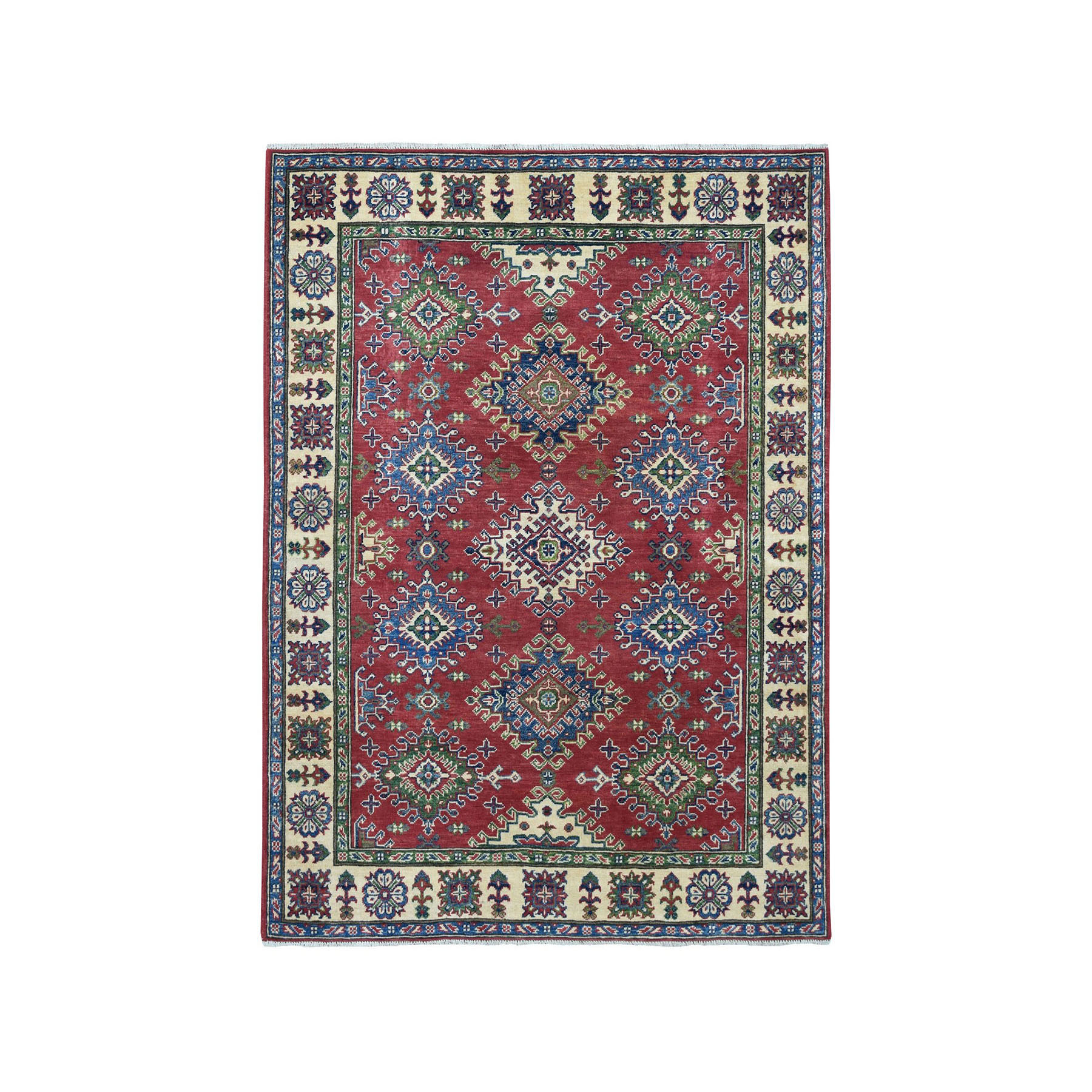 """5'X6'5"""" Red Kazak Pure Wool Geometric Design Hand-Knotted Oriental Rug moae06d9"""