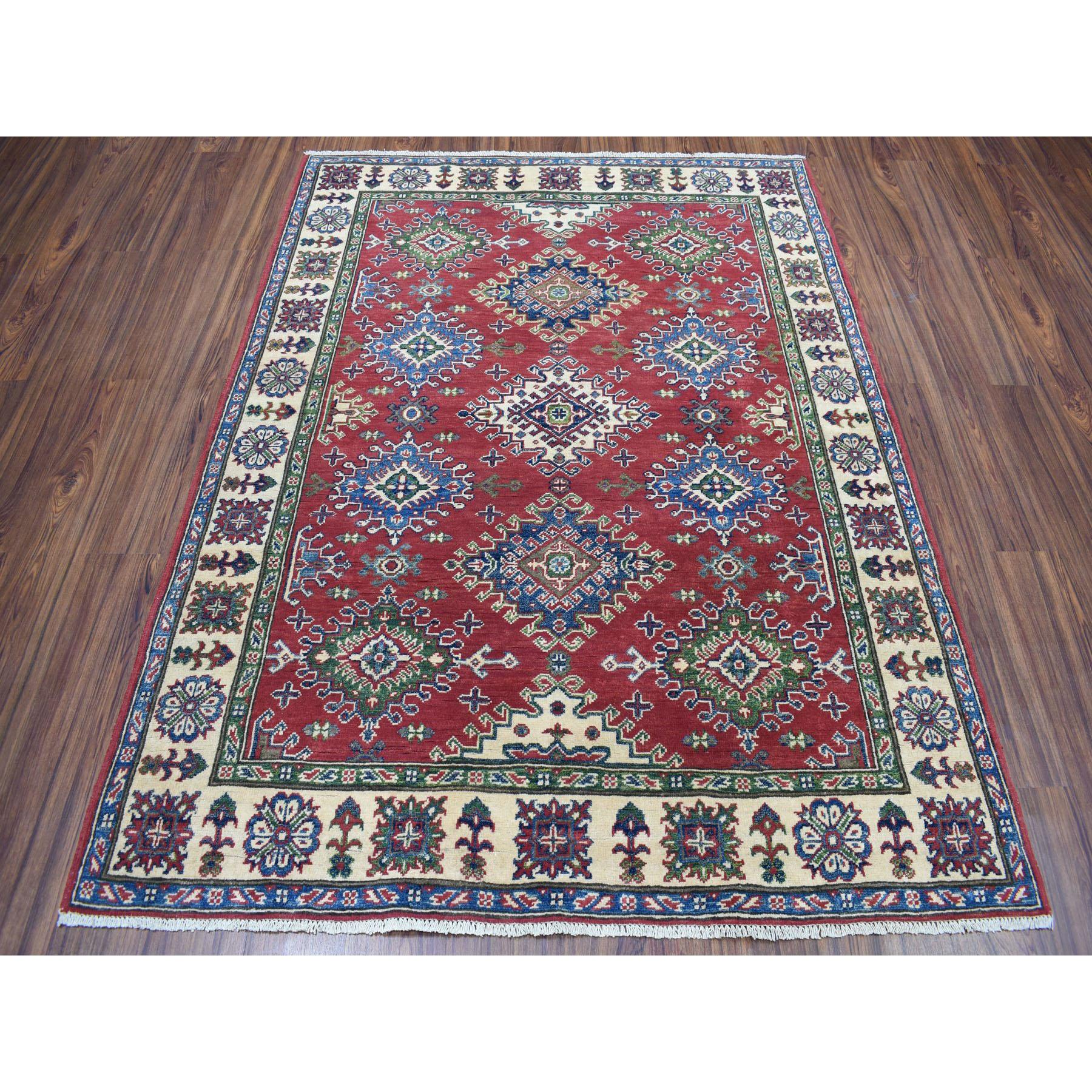 5-x6-5  Red Kazak Pure Wool Geometric Design Hand-Knotted Oriental Rug