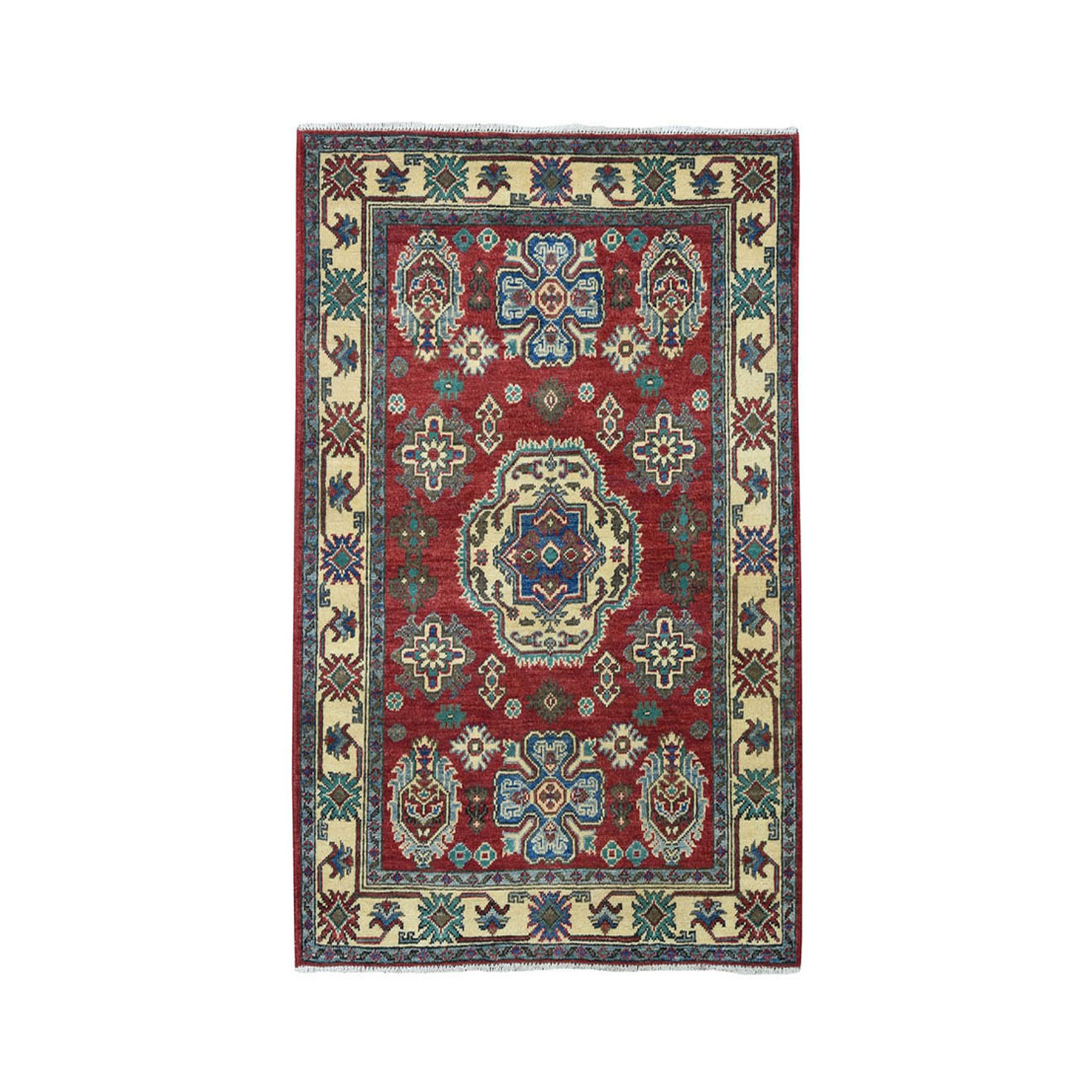 "3'4""X4'8"" Red Kazak Pure Wool Geometric Design Hand-Knotted Oriental Rug"