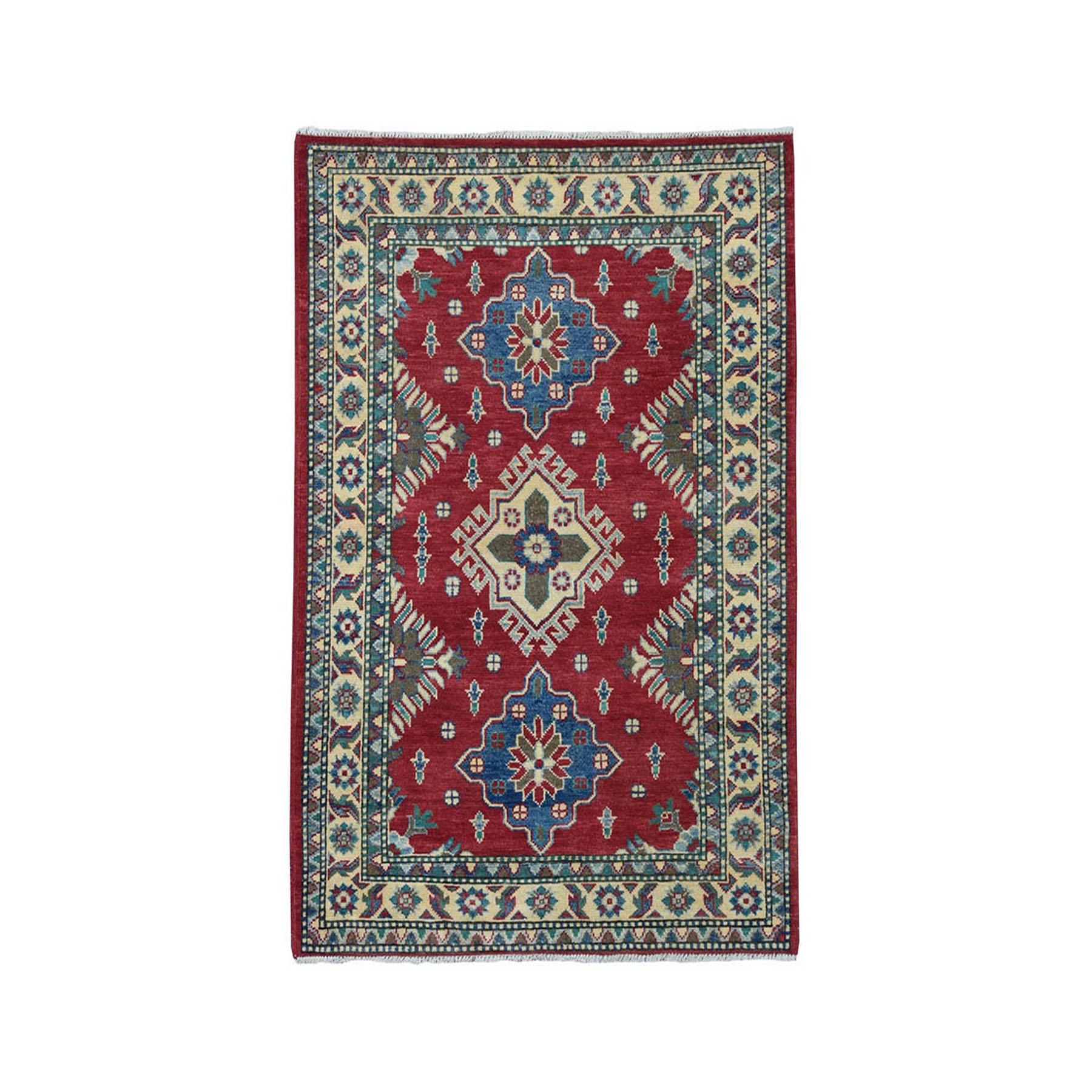 "3'4""X4'9"" Red Kazak Pure Wool Geometric Design Hand-Knotted Oriental Rug"