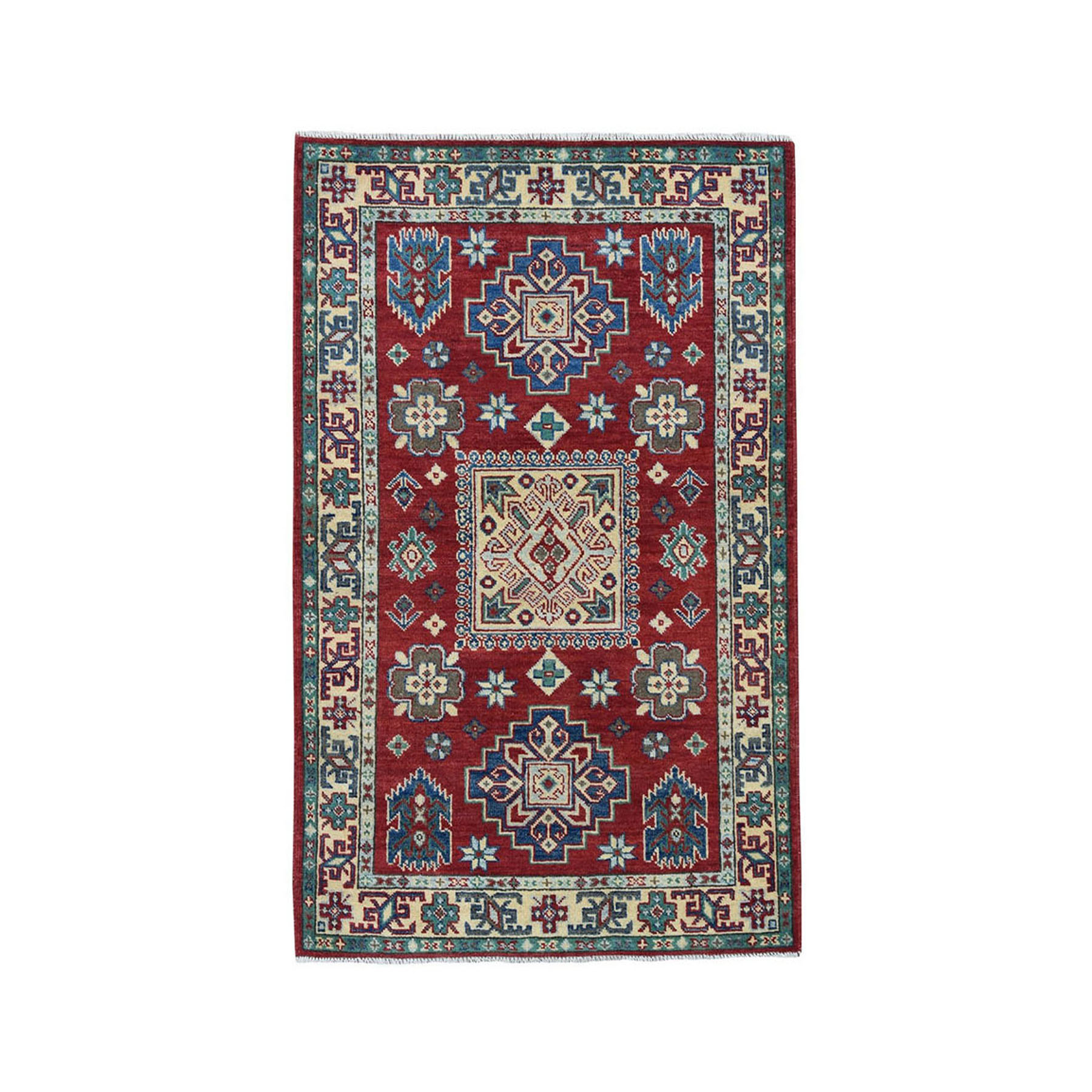 "3'4""X5' Red Kazak Pure Wool Geometric Design Hand-Knotted Oriental Rug moae06ec"
