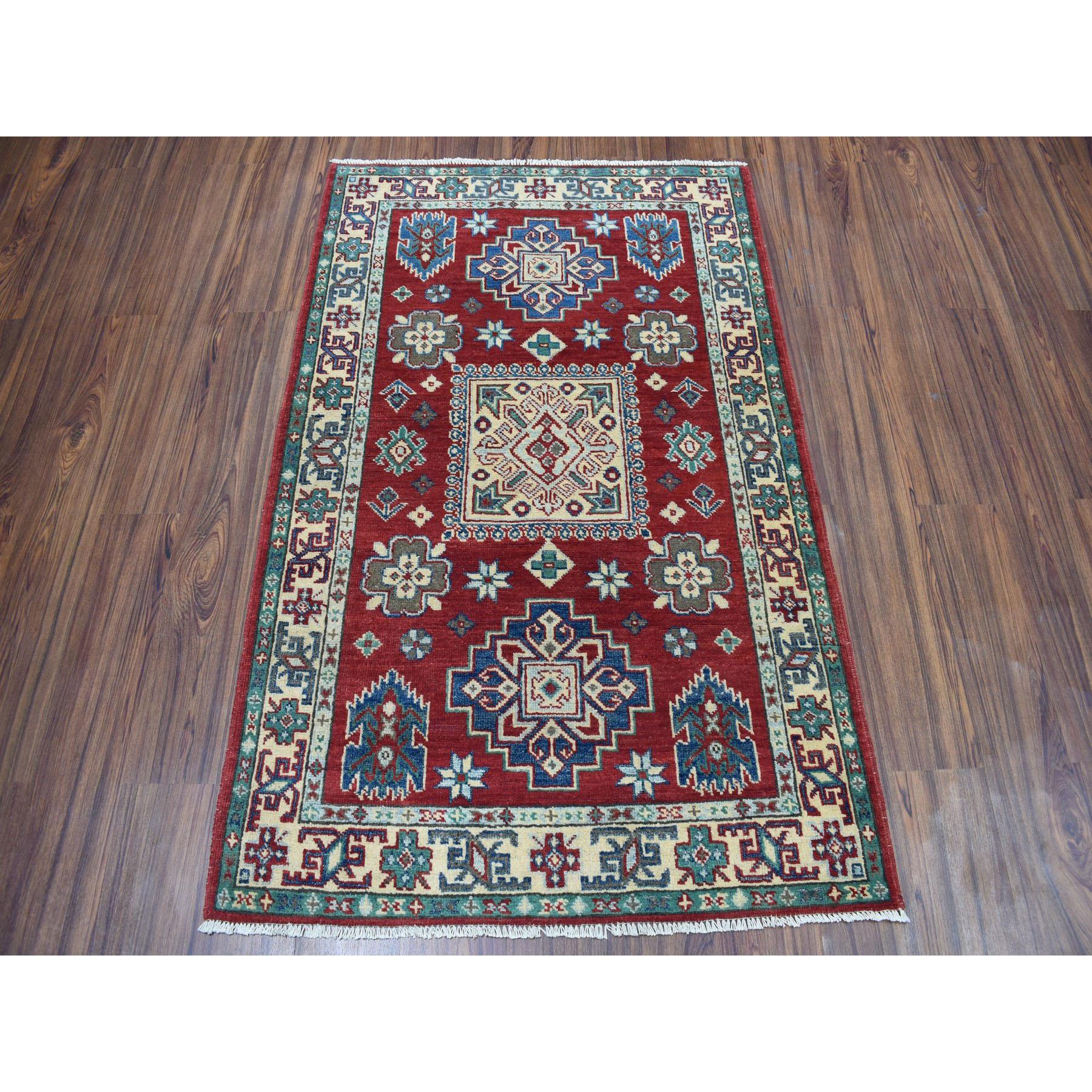 3-4 x5- Red Kazak Pure Wool Geometric Design Hand-Knotted Oriental Rug