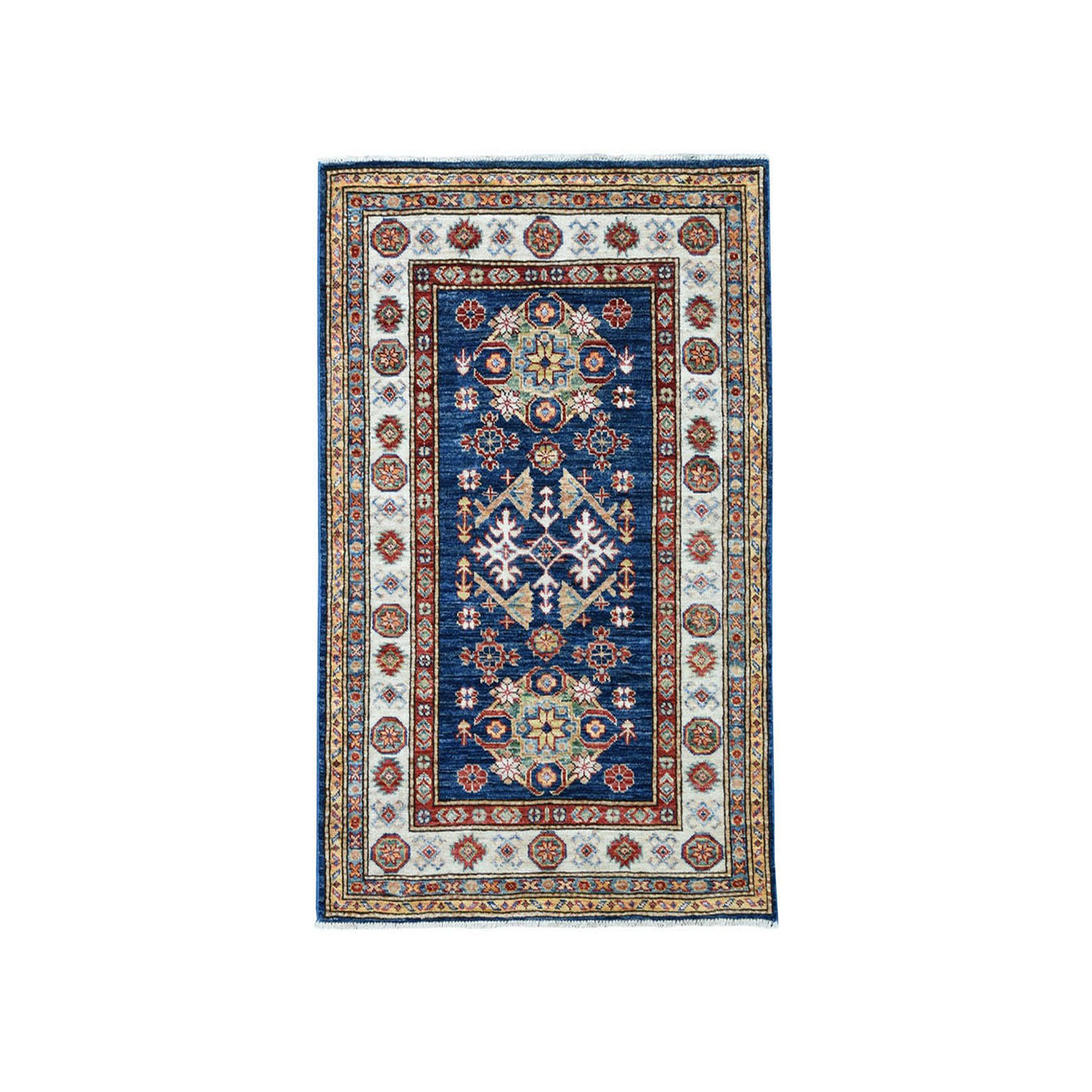 "2'10""X4'2"" Blue Super Kazak Pure Wool Geometric Design Hand-Knotted Oriental Rug moae066a"