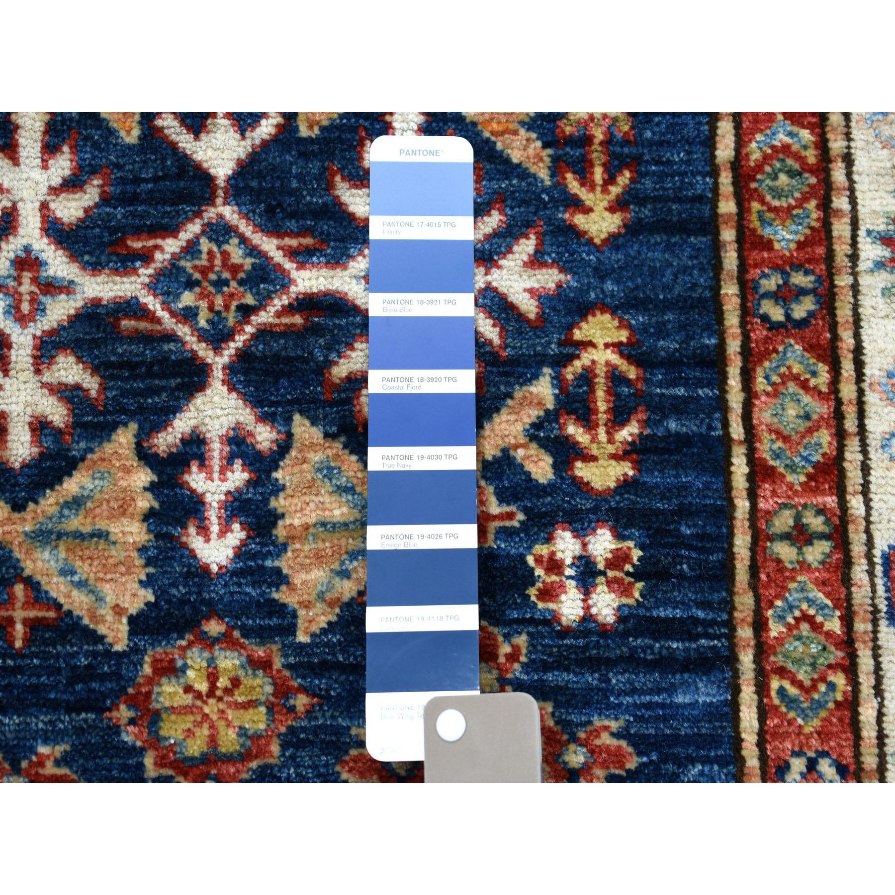 2-10 x4-2  Blue Super Kazak Pure Wool Geometric Design Hand-Knotted Oriental Rug