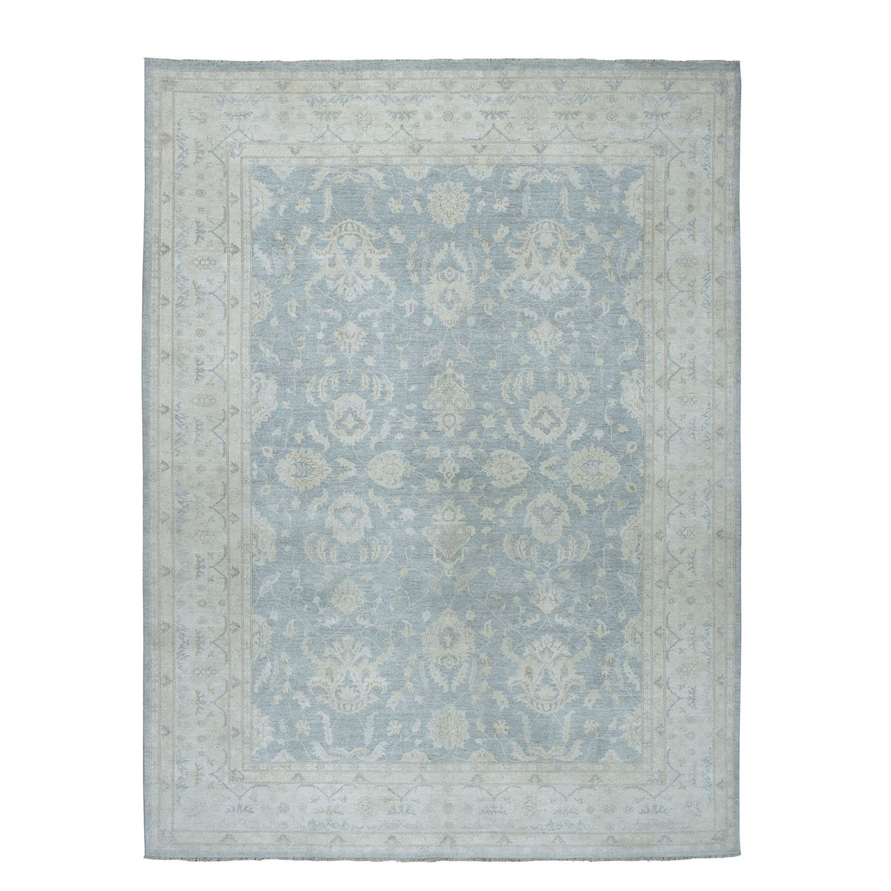"8'9""X12' White Wash Peshawar Pure Wool Hand-Knotted Oriental Rug moae066c"
