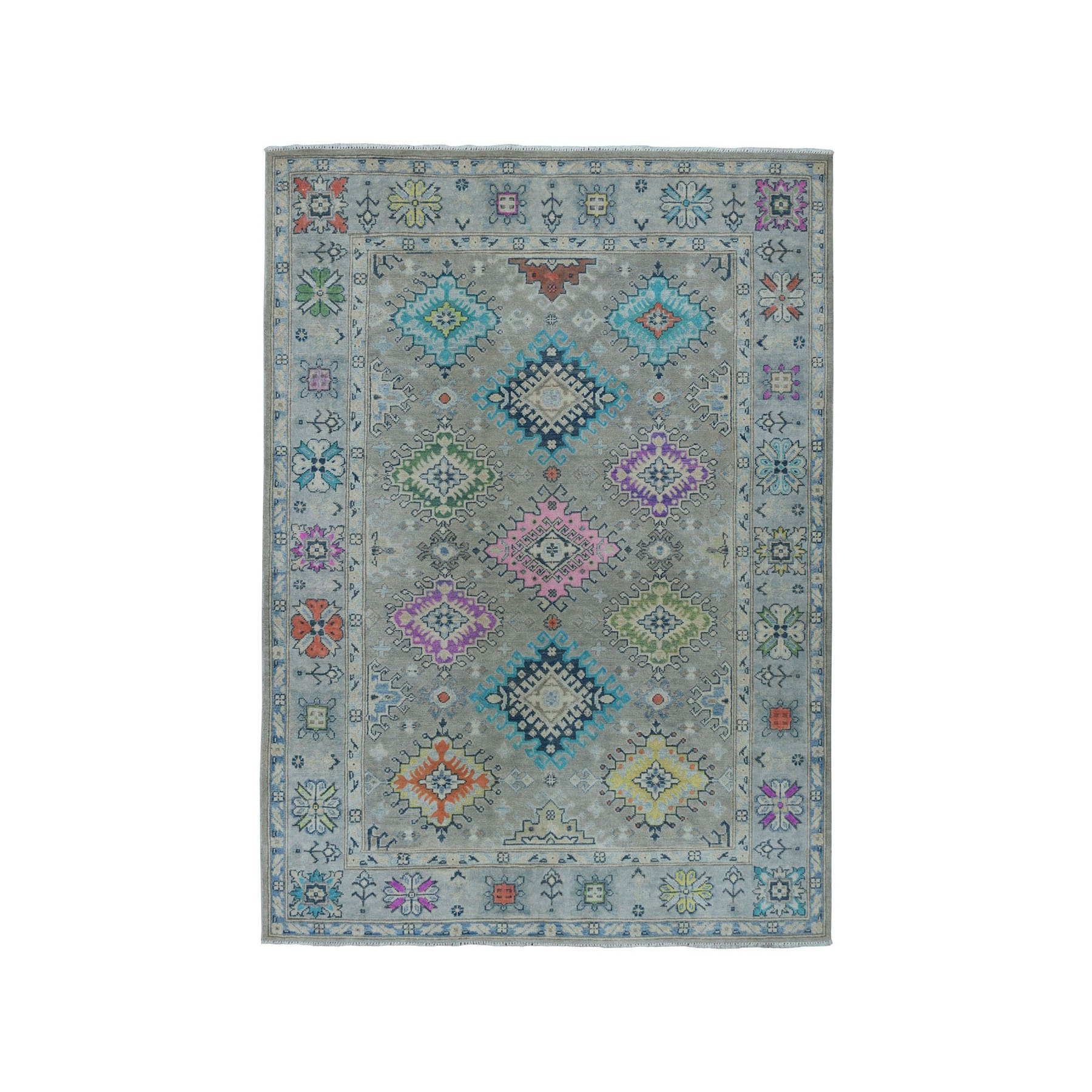 "5'X6'7"" Colorful Fusion Kazak Pure Wool Hand-Knotted Oriental Rug moae0668"