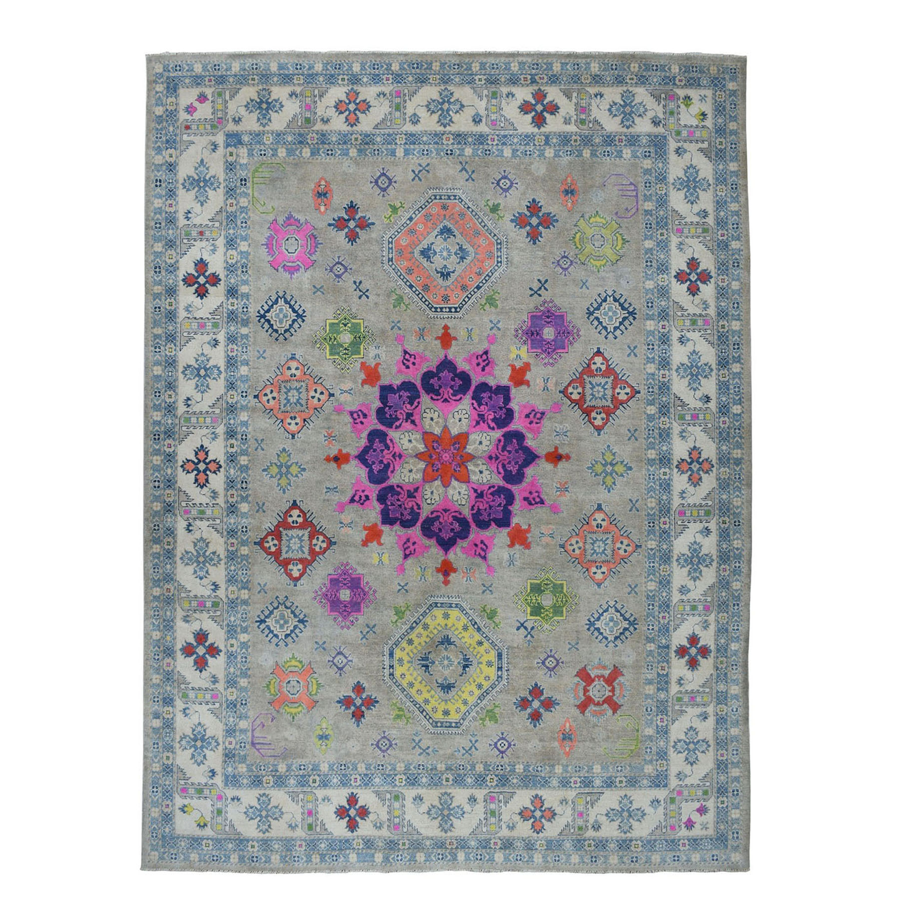"9'2""X11'7"" Colorful Fusion Kazak Geometric Design Pure Wool Hand-Knotted Oriental Rug moae067c"