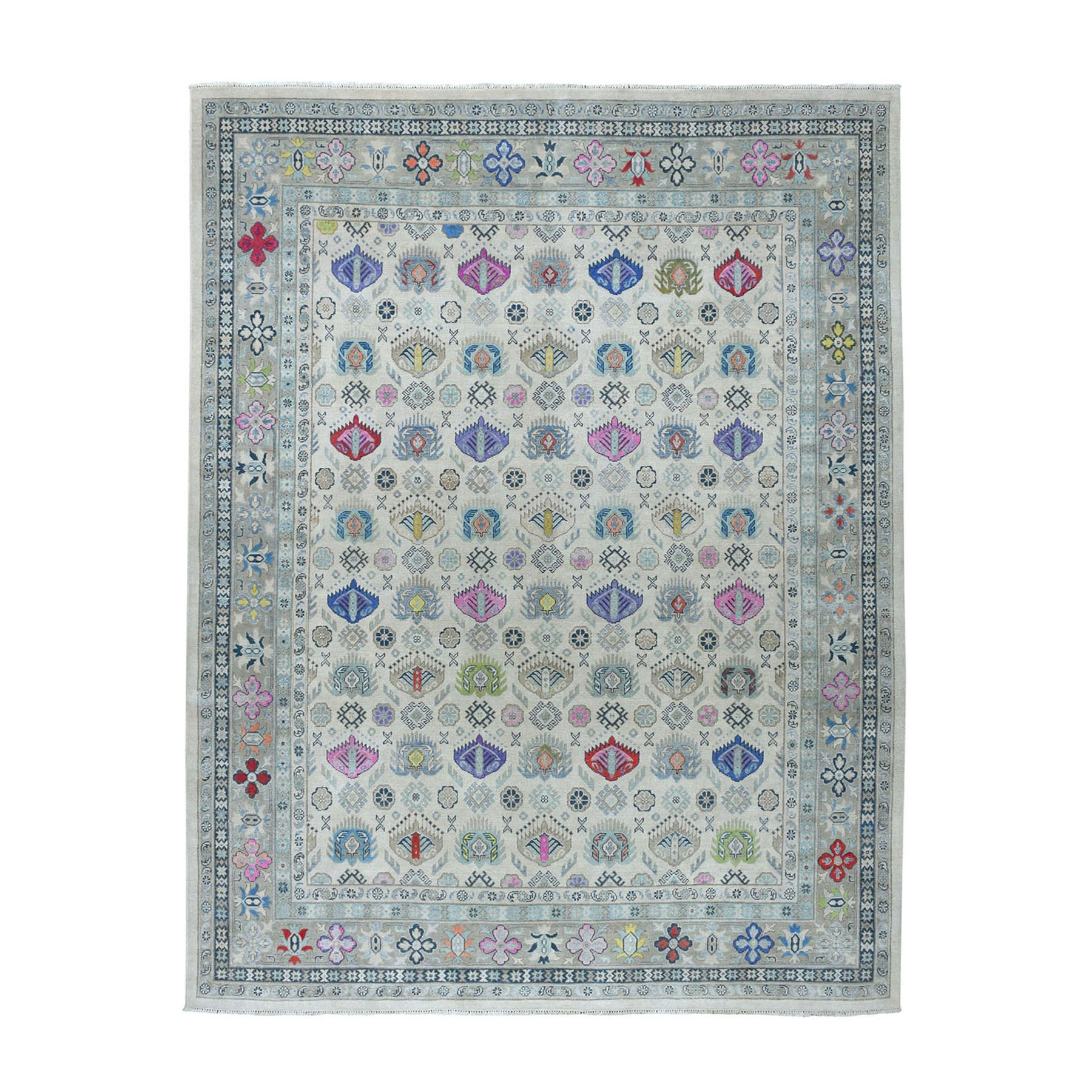"""7'10""""x9'10"""" Colorful Fusion Kazak Pure Wool Hand-Knotted Oriental Rug"""