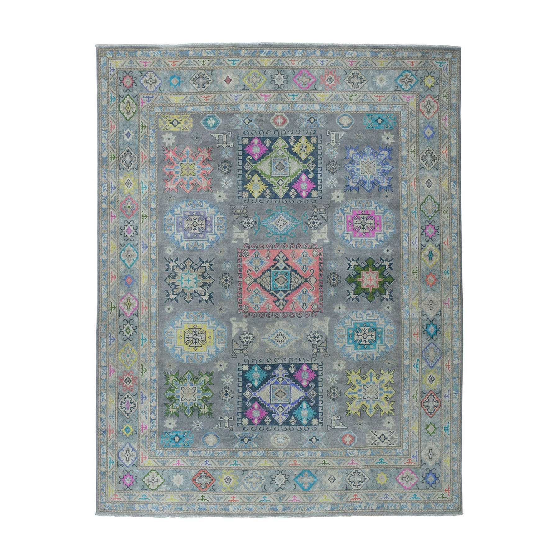 "8'3""X10' Colorful Fusion Kazak Geometric Design Pure Wool Hand-Knotted Oriental Rug moae067e"