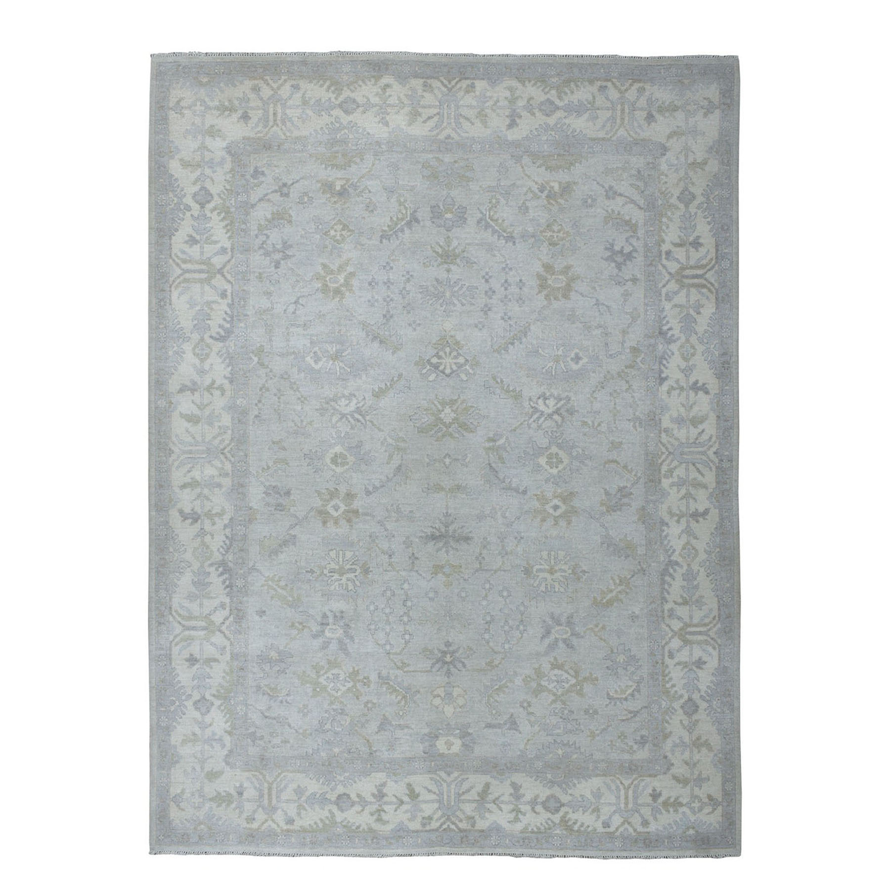 "9'2""X11'7"" Ivory Oushak Textured Pure Wool Hand-Knotted Oriental Rug moae0678"
