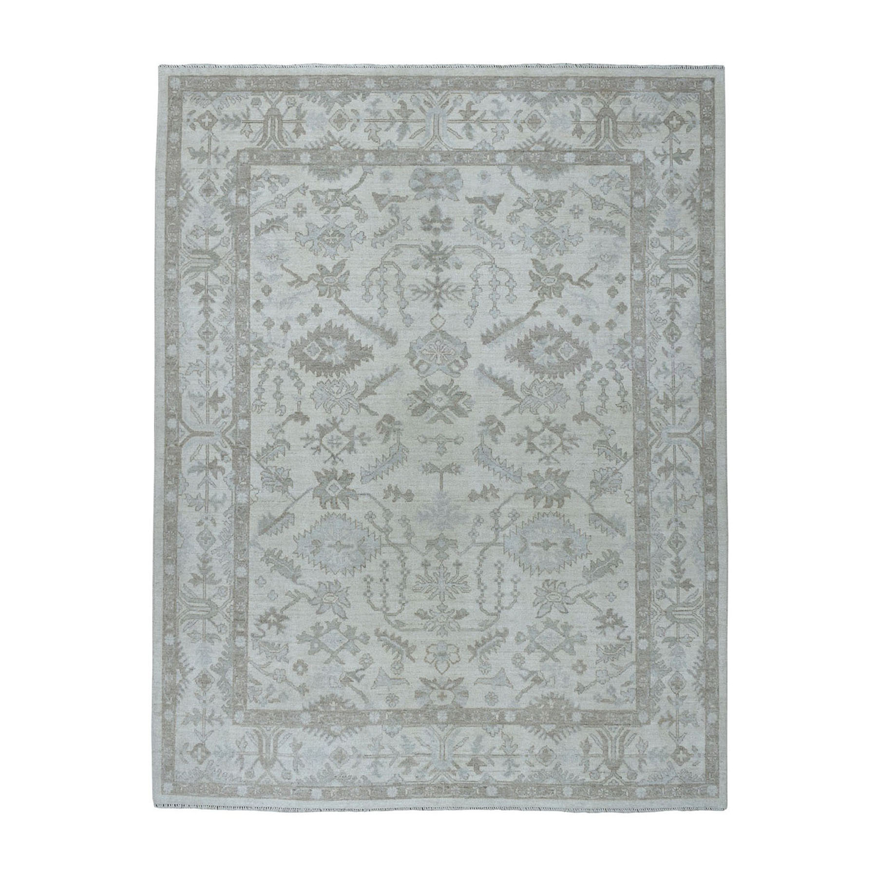 8'X10' Ivory Oushak Textured Pure Wool Hand-Knotted Oriental Rug moae0679