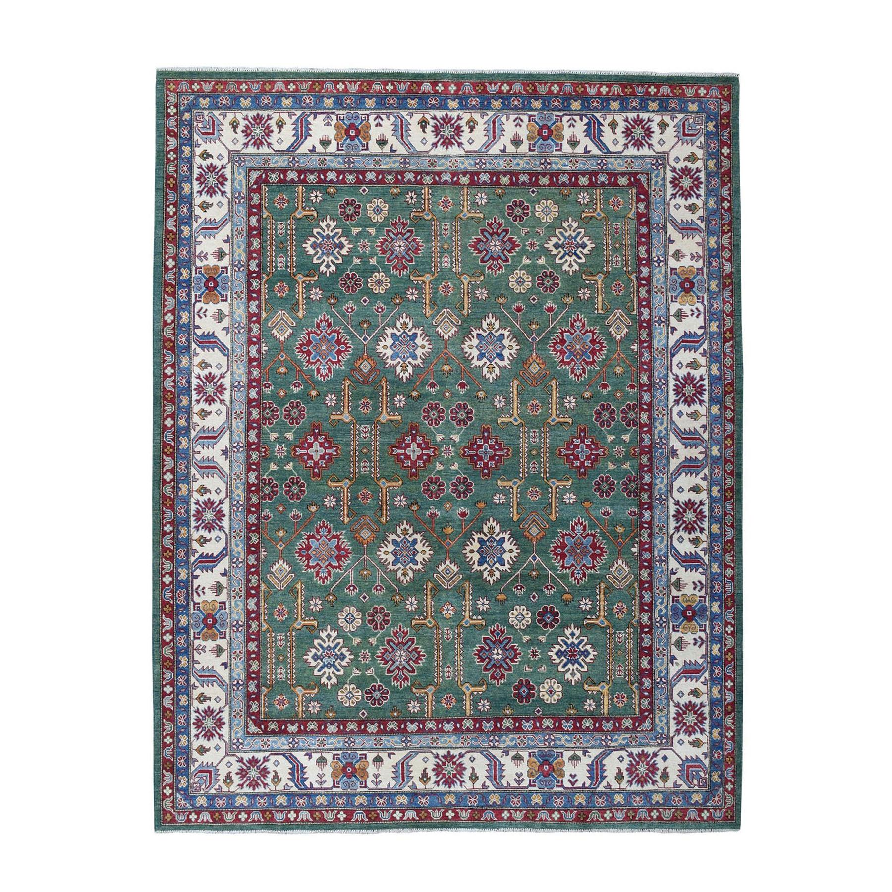 "8'2""X9'9"" Green Geometric Design Kazak Pure Wool Hand-Knotted Oriental Rug moae068c"