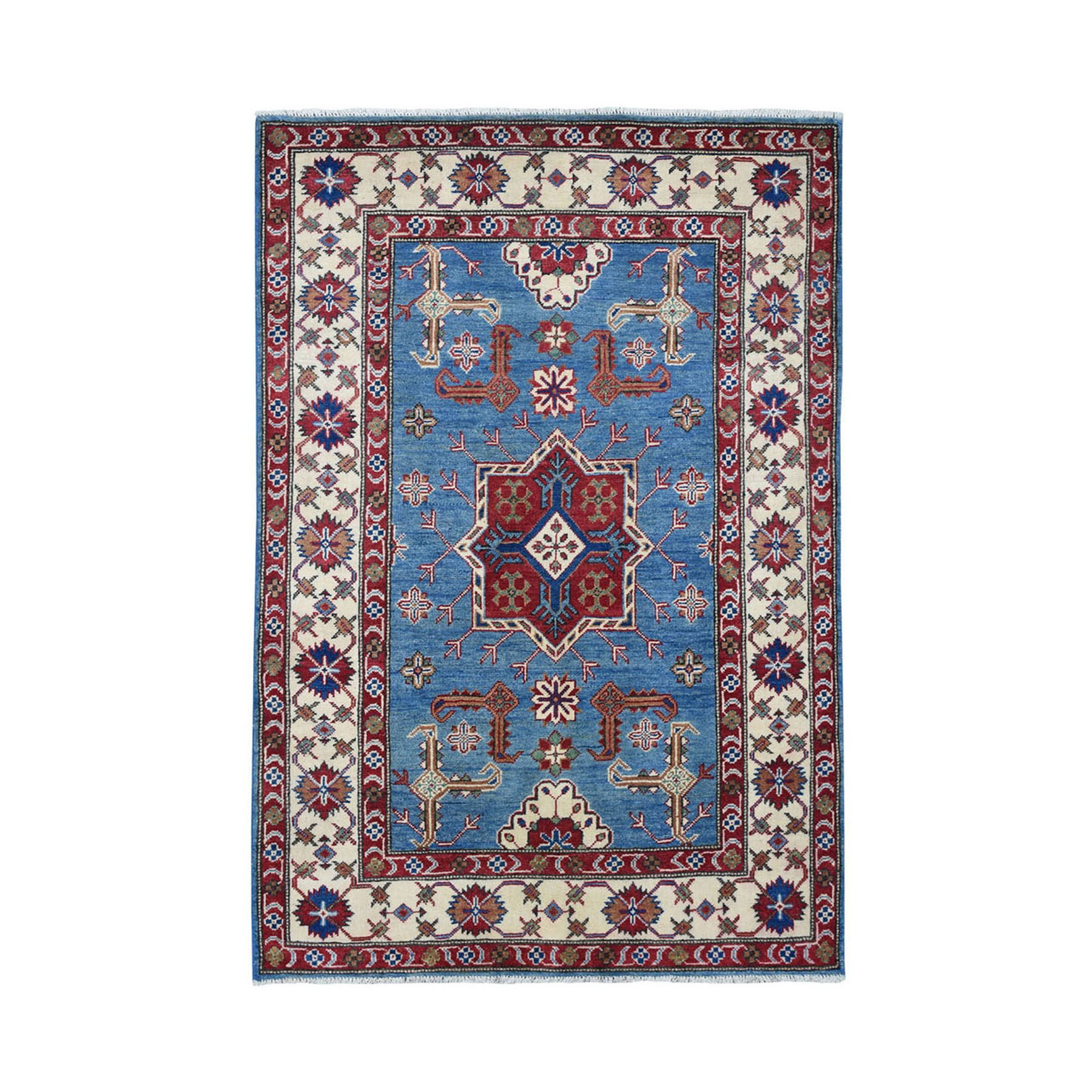 "4'X5'6"" Blue Geometric Design Kazak Pure Wool Hand-Knotted Oriental Rug moae069c"