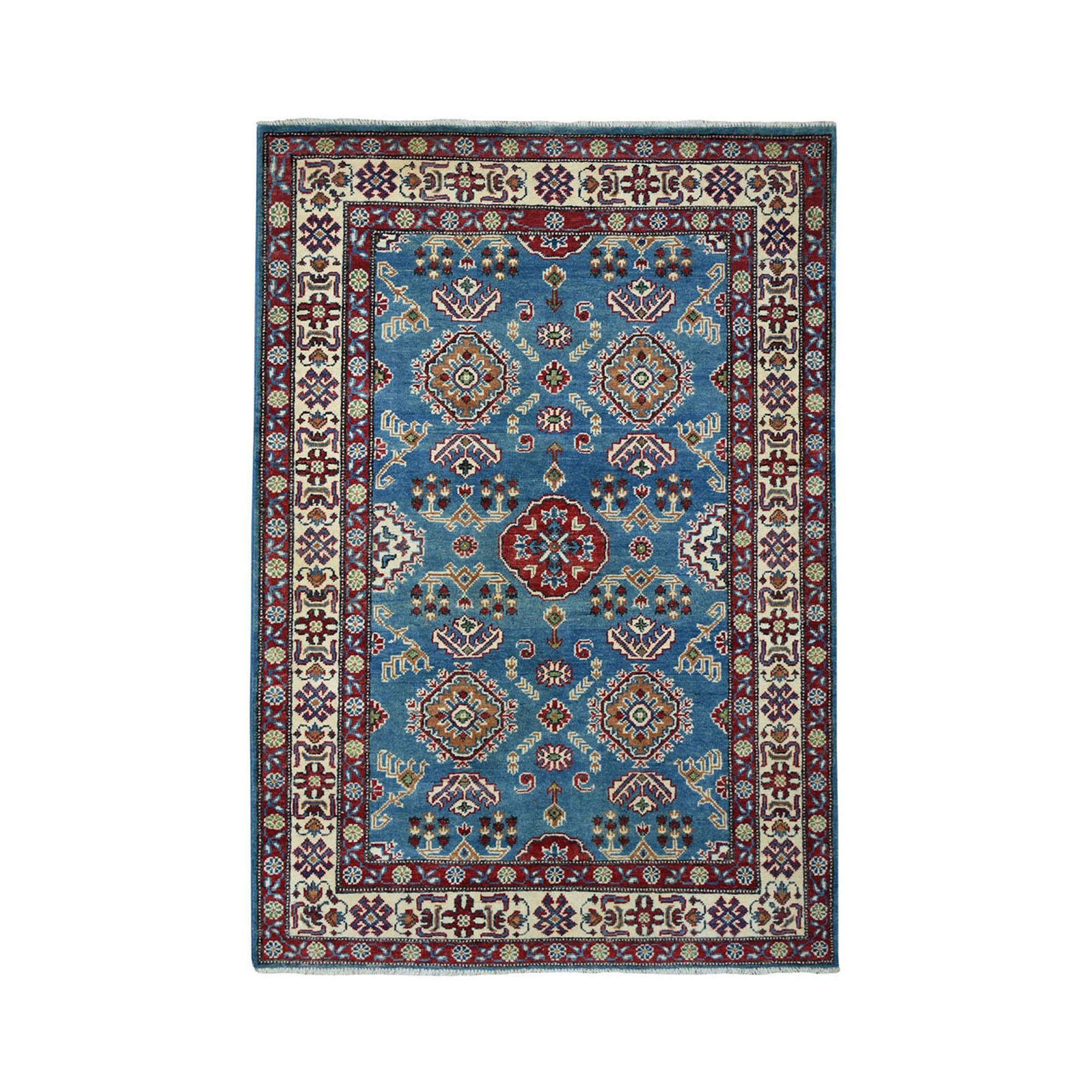 4'X6' Blue Geometric Design Kazak Pure Wool Hand-Knotted Oriental Rug moae069e