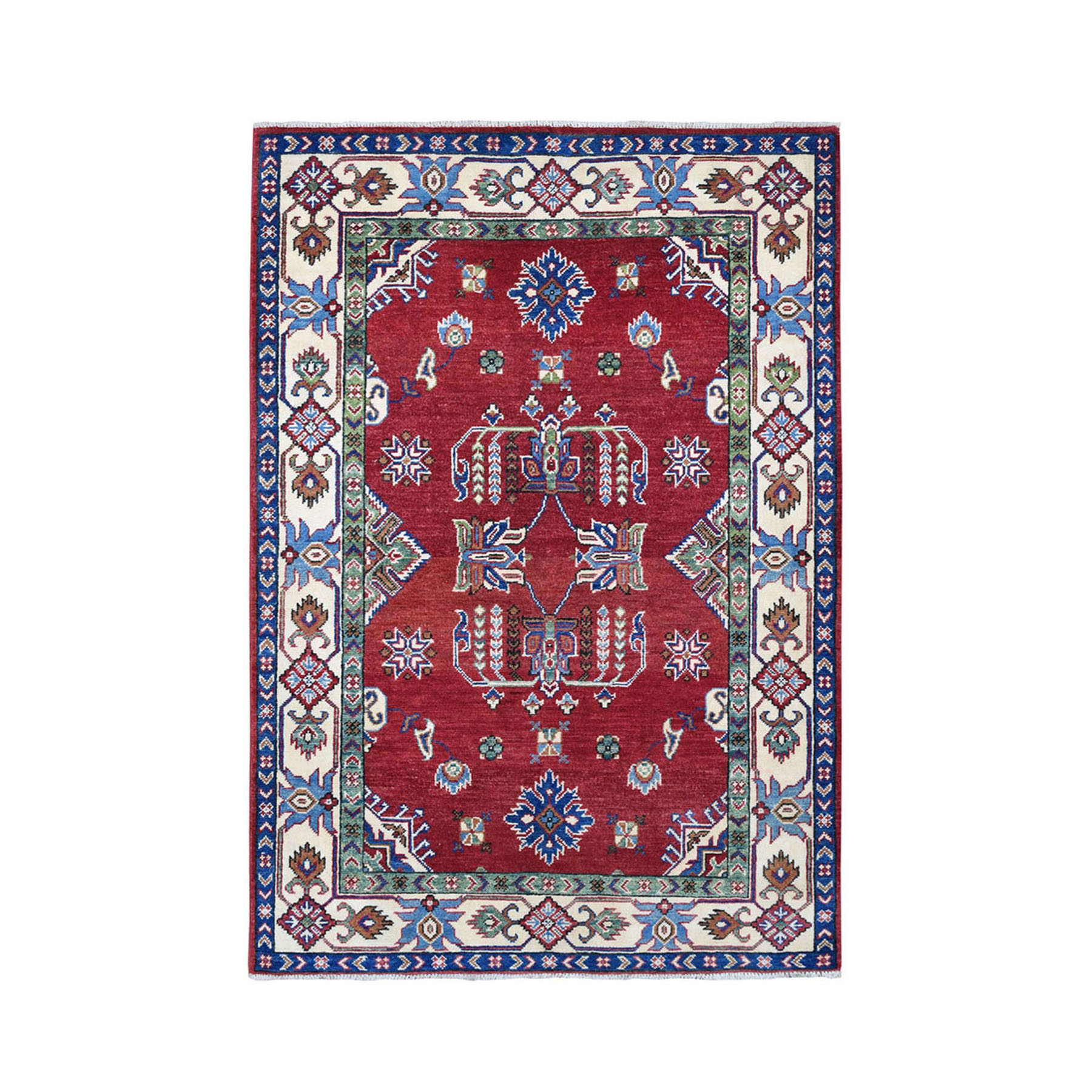 "4'1""X5'10"" Red Geometric Design Kazak Pure Wool Hand-Knotted Oriental Rug moae0696"