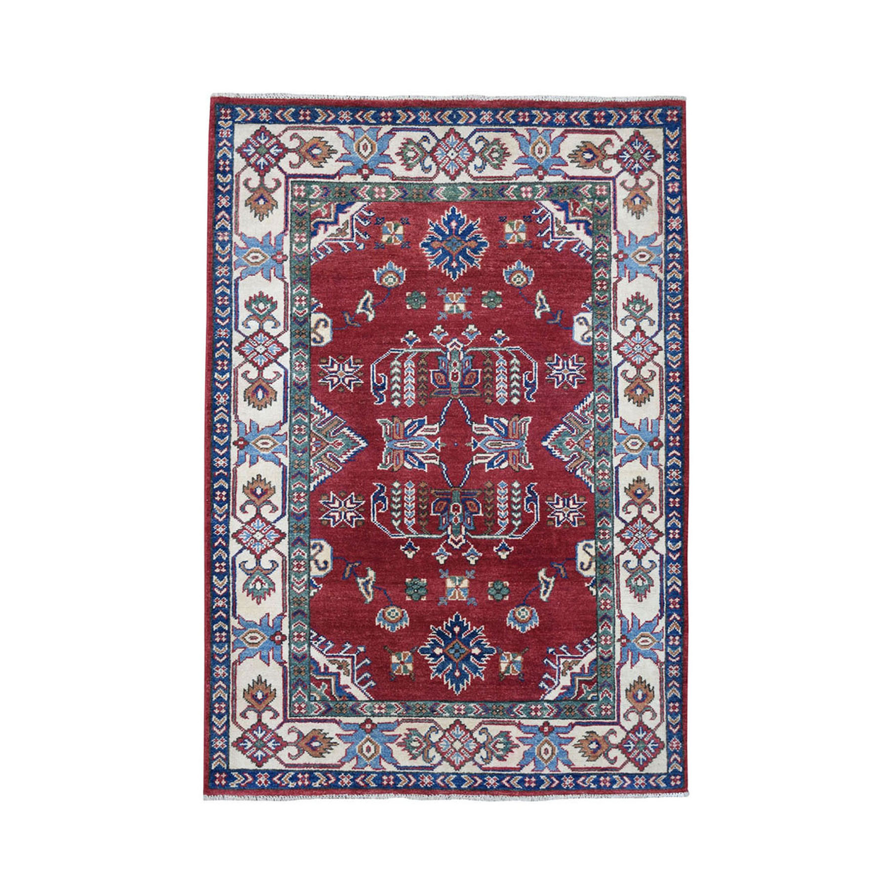 4'X6' Red Geometric Design Kazak Pure Wool Hand-Knotted Oriental Rug moae0697