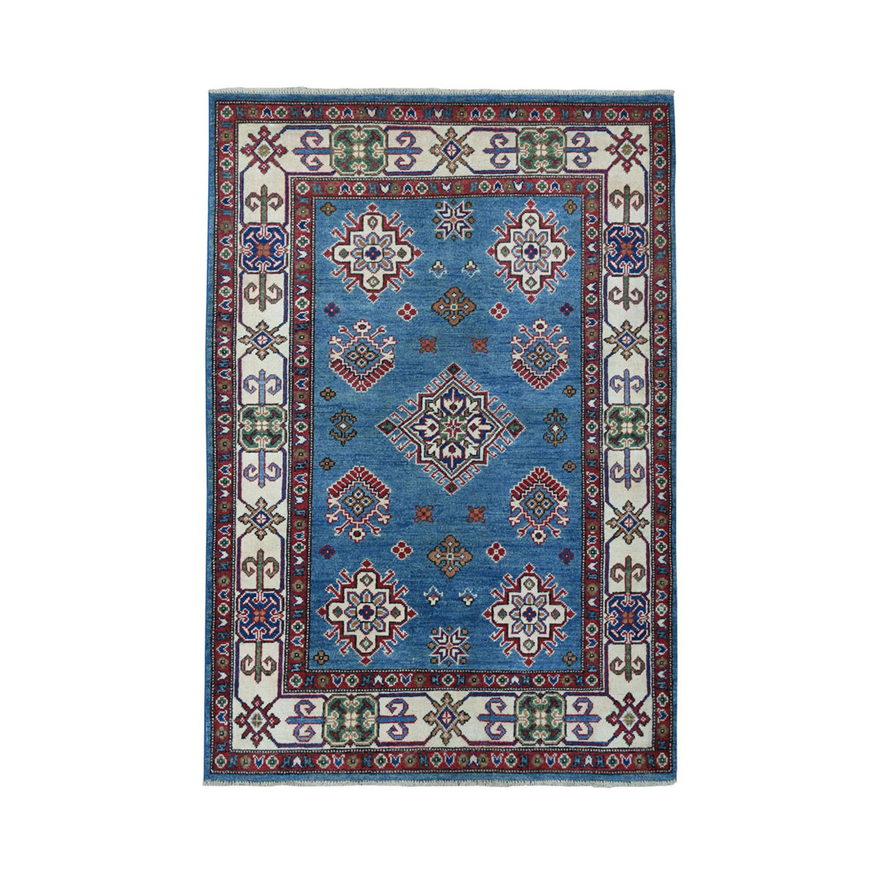 "4'X5'6"" Blue Geometric Design Kazak Pure Wool Hand-Knotted Oriental Rug moae0699"